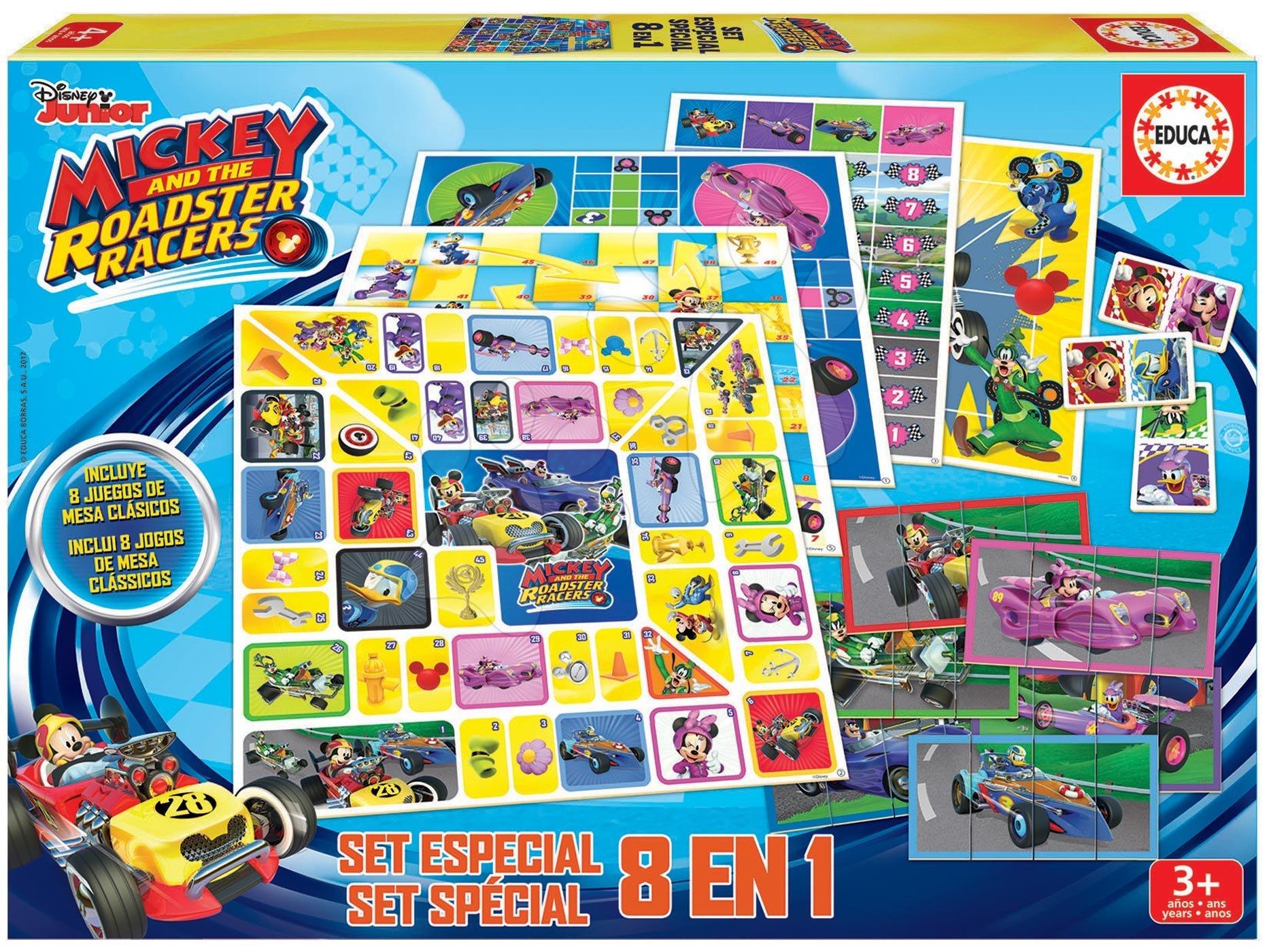 Spoločenské hry Mickey Roadster Racers 8 v 1 Special set Educa od 3 rokov