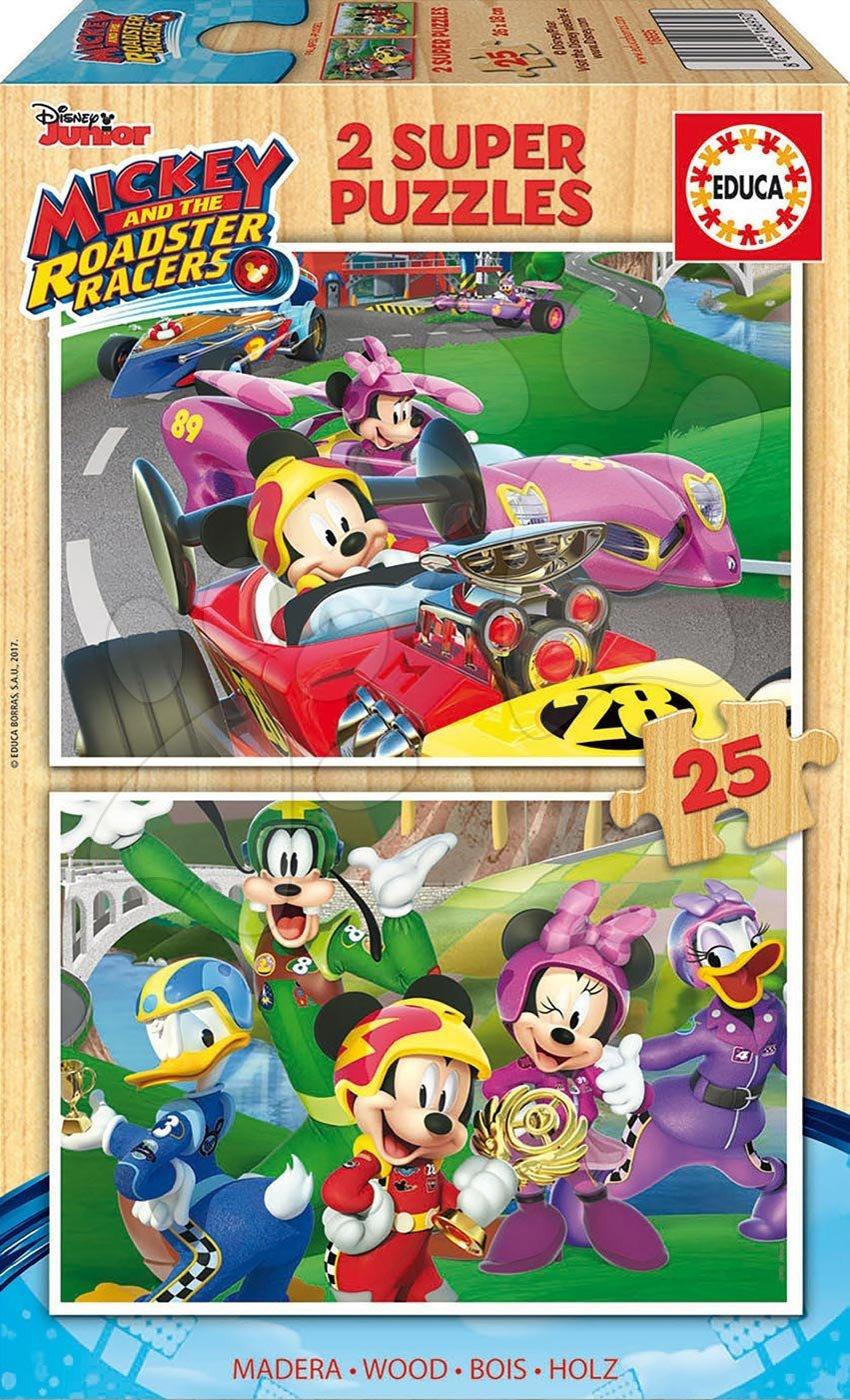 Drevené puzzle Mickey and the Roadster Racers Educa Disney 2x25 dielov od 4 rokov