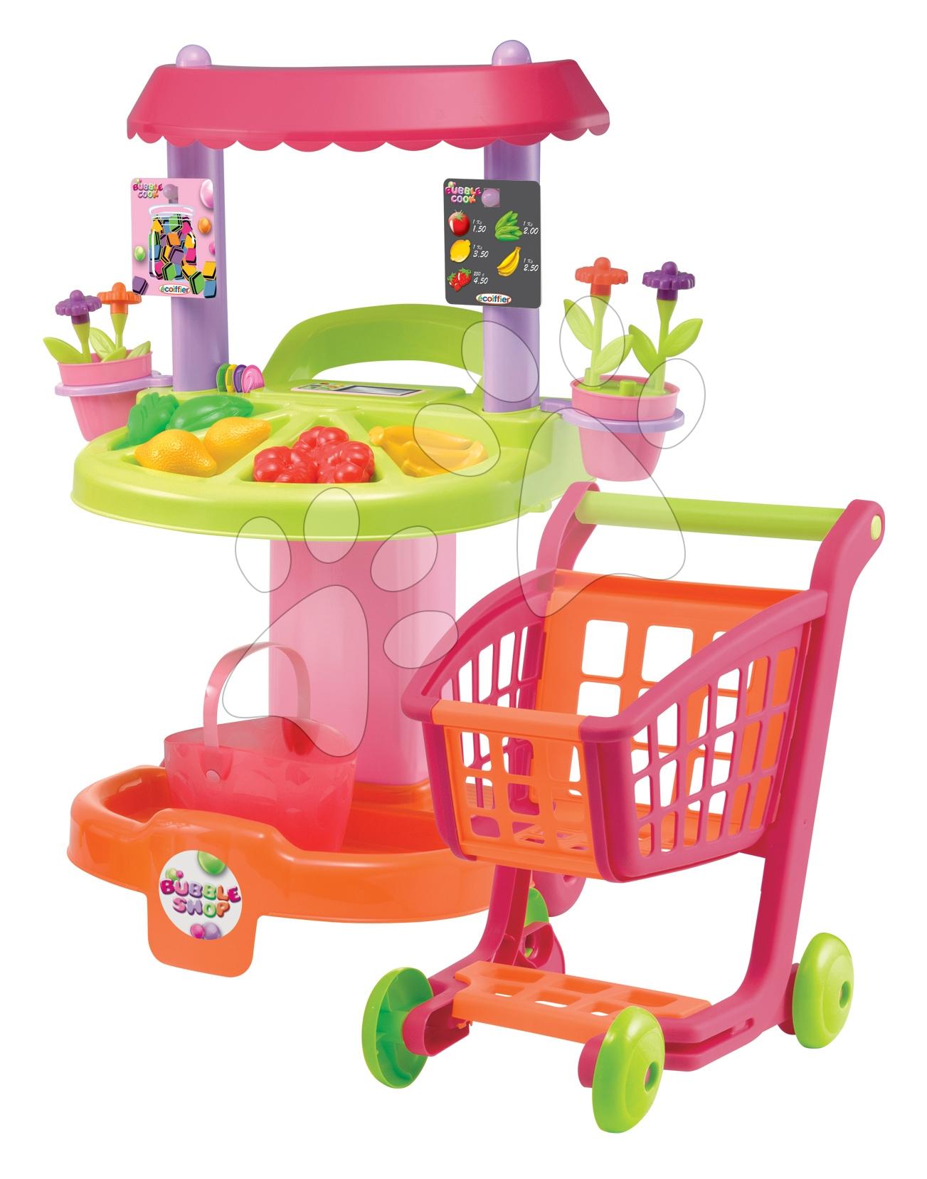 Supermarteturi pentru copii - Stand Bubble Shop Écoiffier cu legume, flori, cărucior de cumpărături şi cu 29 de accesorii de la 18 luni