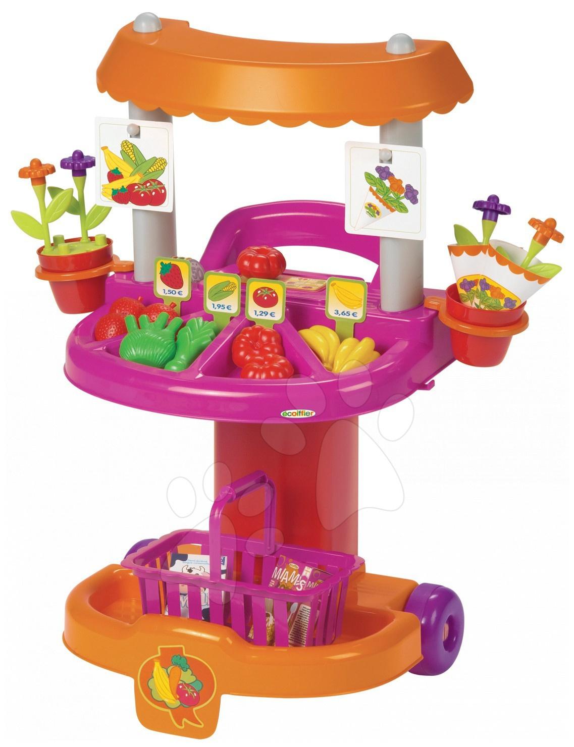 Obchody pre deti - Obchod a kvetinárstvo Bubble Shop Écoiffier na kolieskach s 27 doplnkami od 18 mes