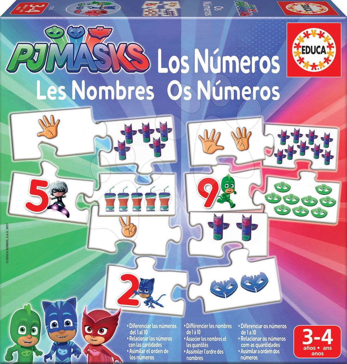 Poučna igra Učimo še Številke PJ Masks Educa s sličicami in računi 40 delov