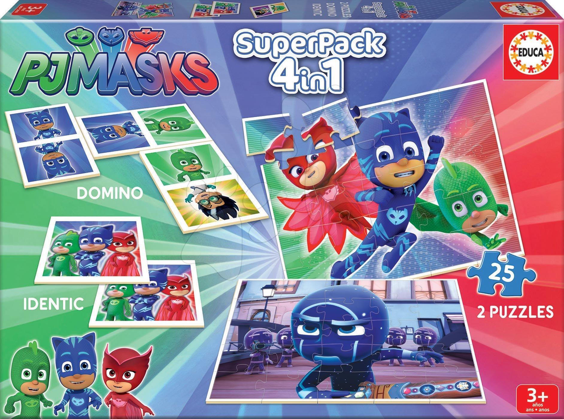 Puzzle PJ Masks SuperPack 4v1 Educa 2x puzzle, domino, pexeso