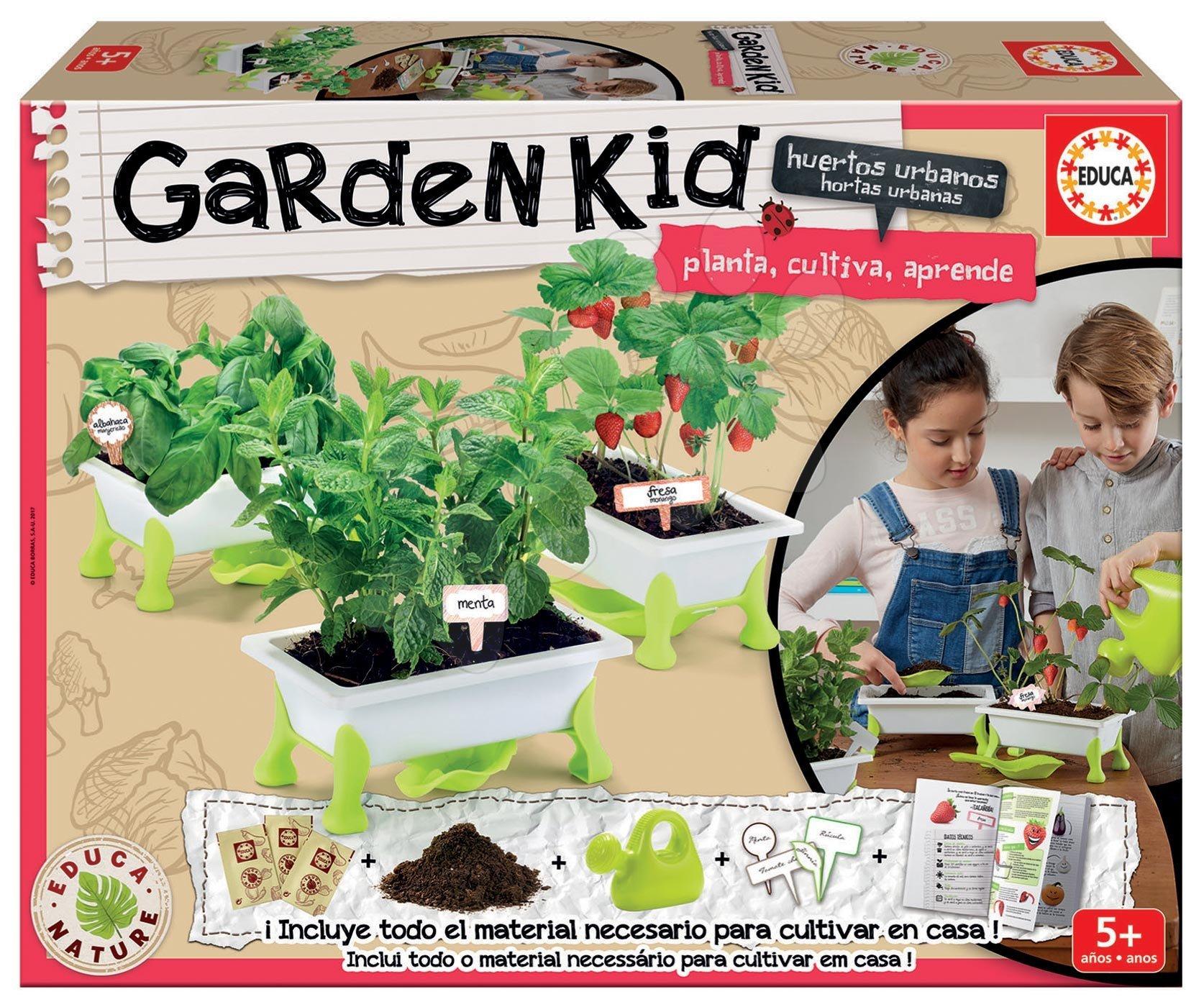 Kis kertész - fűszernövények Strawberry-Mint-Basil Educa Nature kertészeti tartozékokkal 5 évtől