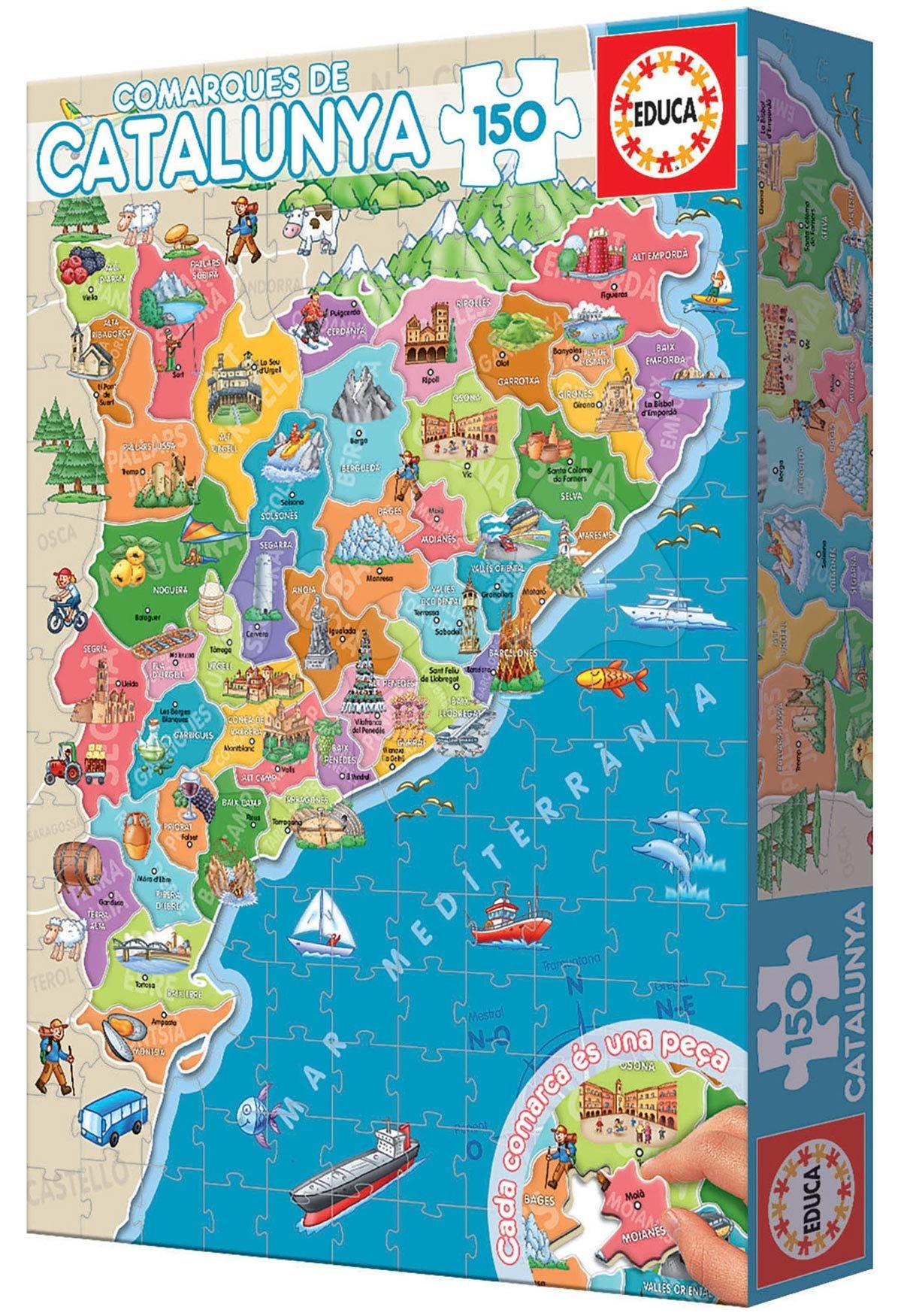 Puzzle Mapa Katalánsko s monumenty Educa 150 dílků od 7 let