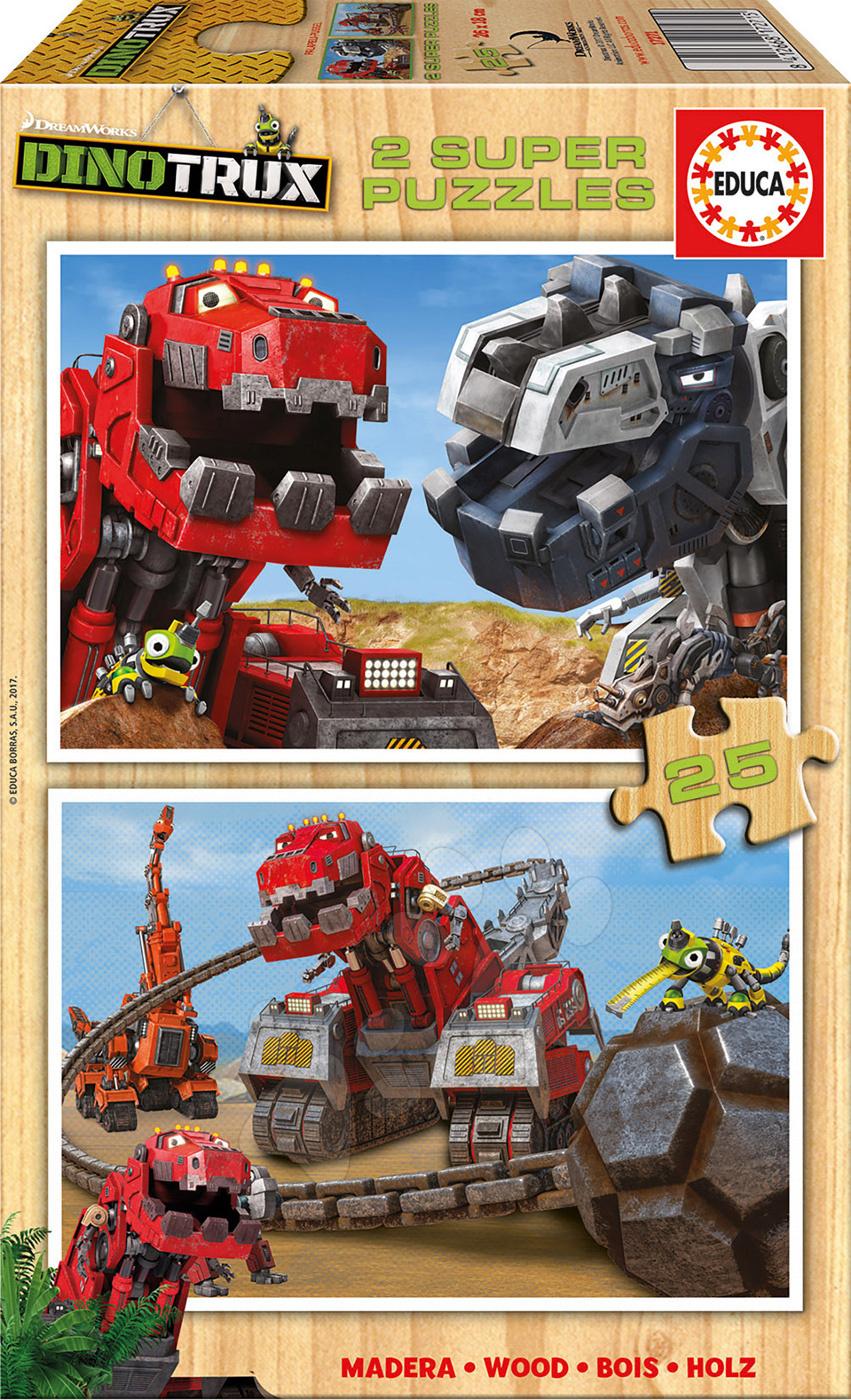 Dřevěné puzzle Dinotrux Educa 2x25 dílů od 4 let
