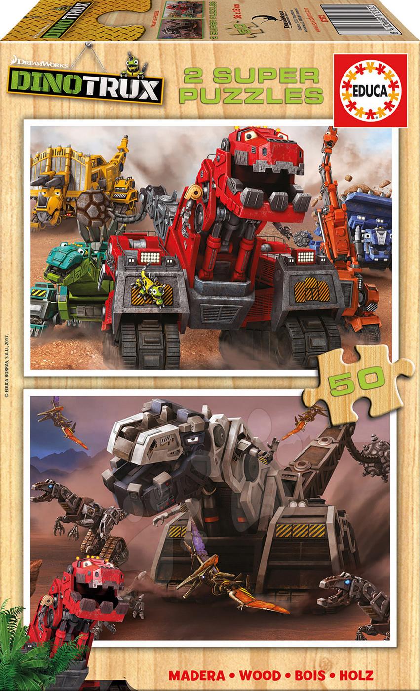 Puzzle Dinotrux Educa 2x50 dílů dřevěné od 5 let