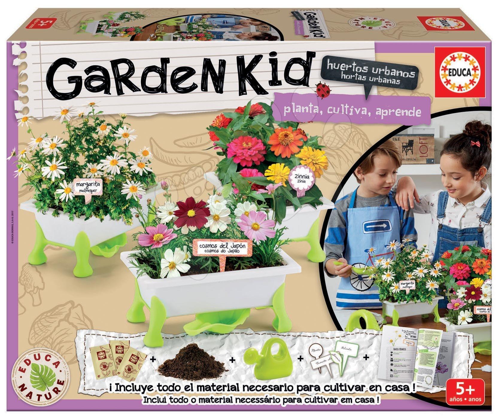 Malý zahradník květiny Nature Educa Daisy, Zinnia, Cosmos se zahradnickými potřebami od 5 let