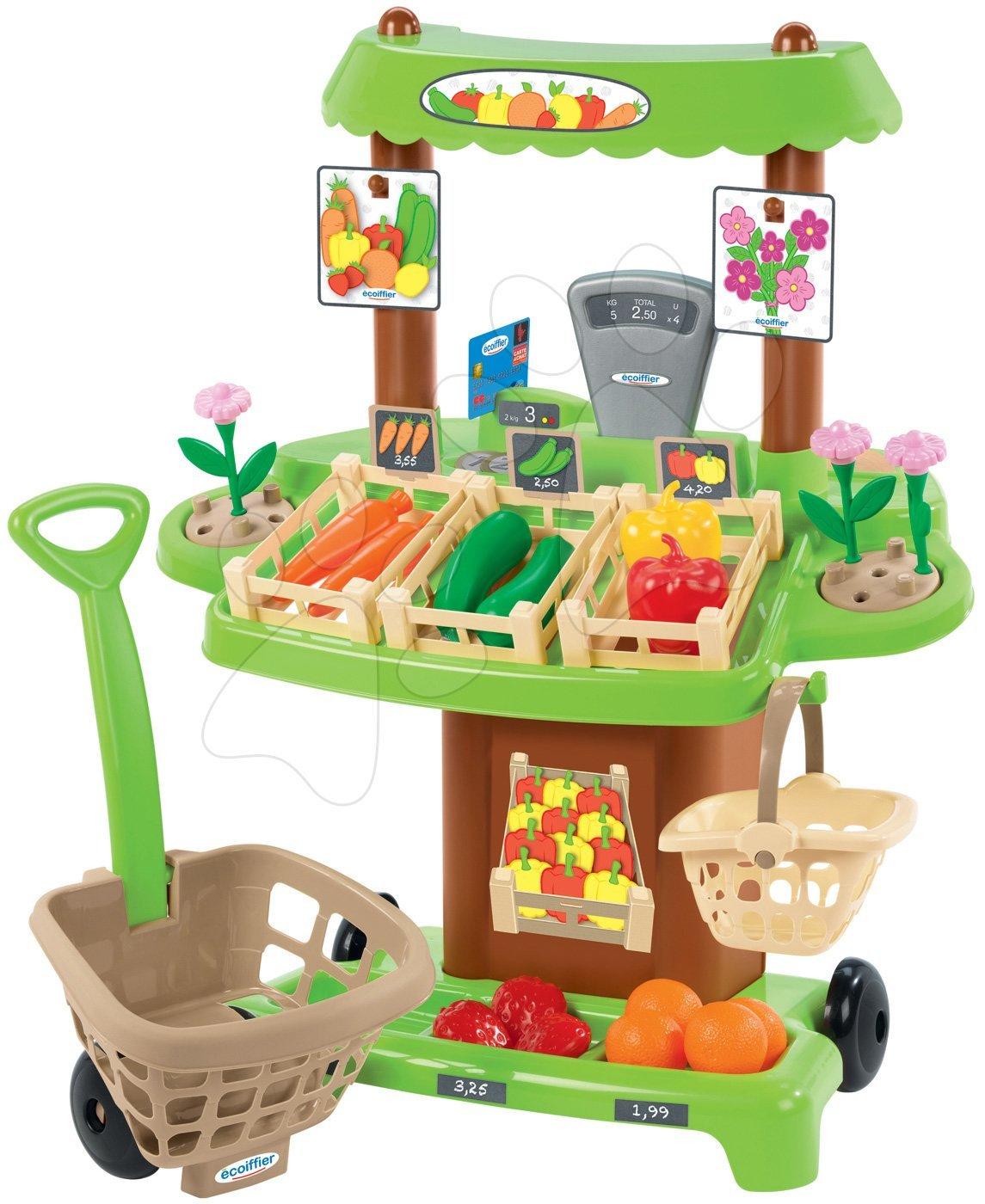 Stand de legume Bio cu coş de cumpărături Organic 100% Chef Ecoiffier maro cu 35 de accesorii de la vârsta de 18 luni