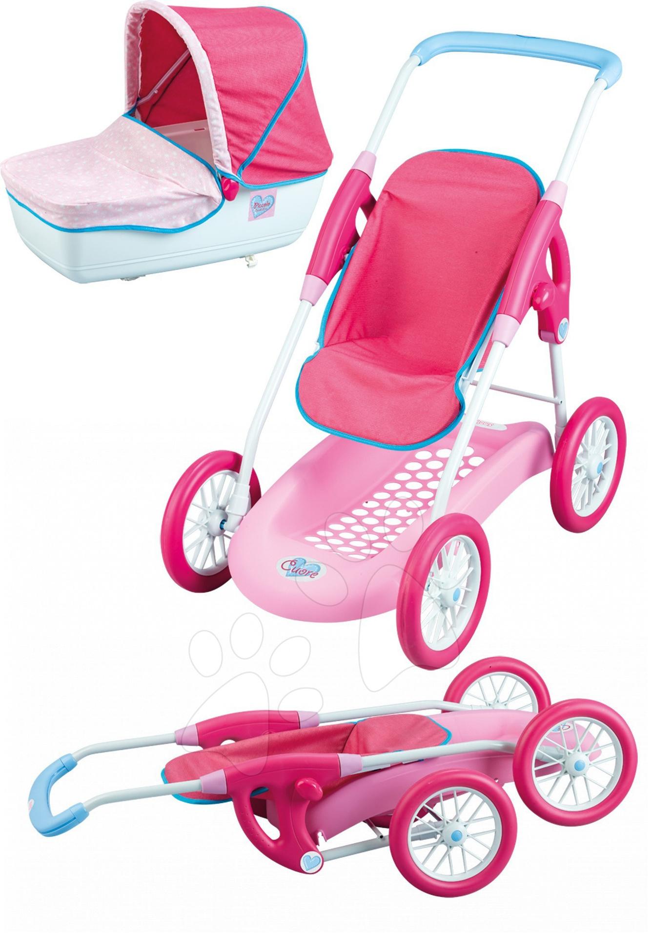 Staré položky - Kočík Baby Nurse Combi pre bábiku 3v1 Smoby ružovo-biely (74 cm rúčka)