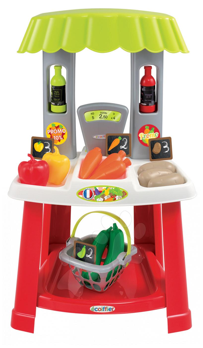 Obchody pre deti - Zeleninový stánok 100% Chef Organic Écoiffier s nákupným košíkom a 18 doplnkami od 18 mes