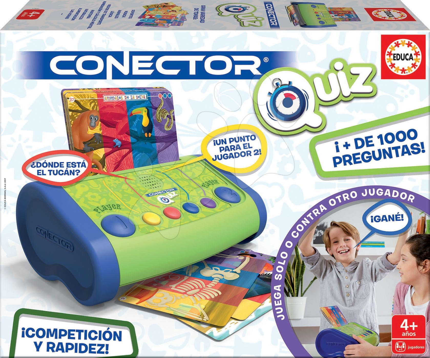 Detská spoločenská hra Conector Quiz Educa 1000 otázok o svete španielsky od 4 rokov