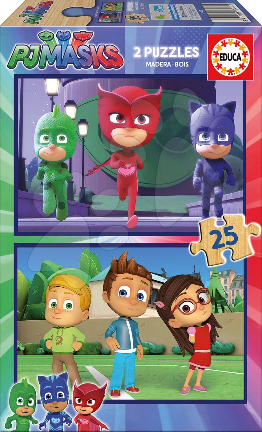 Fa puzzle PJ Mask Educa 2x 25 darabos