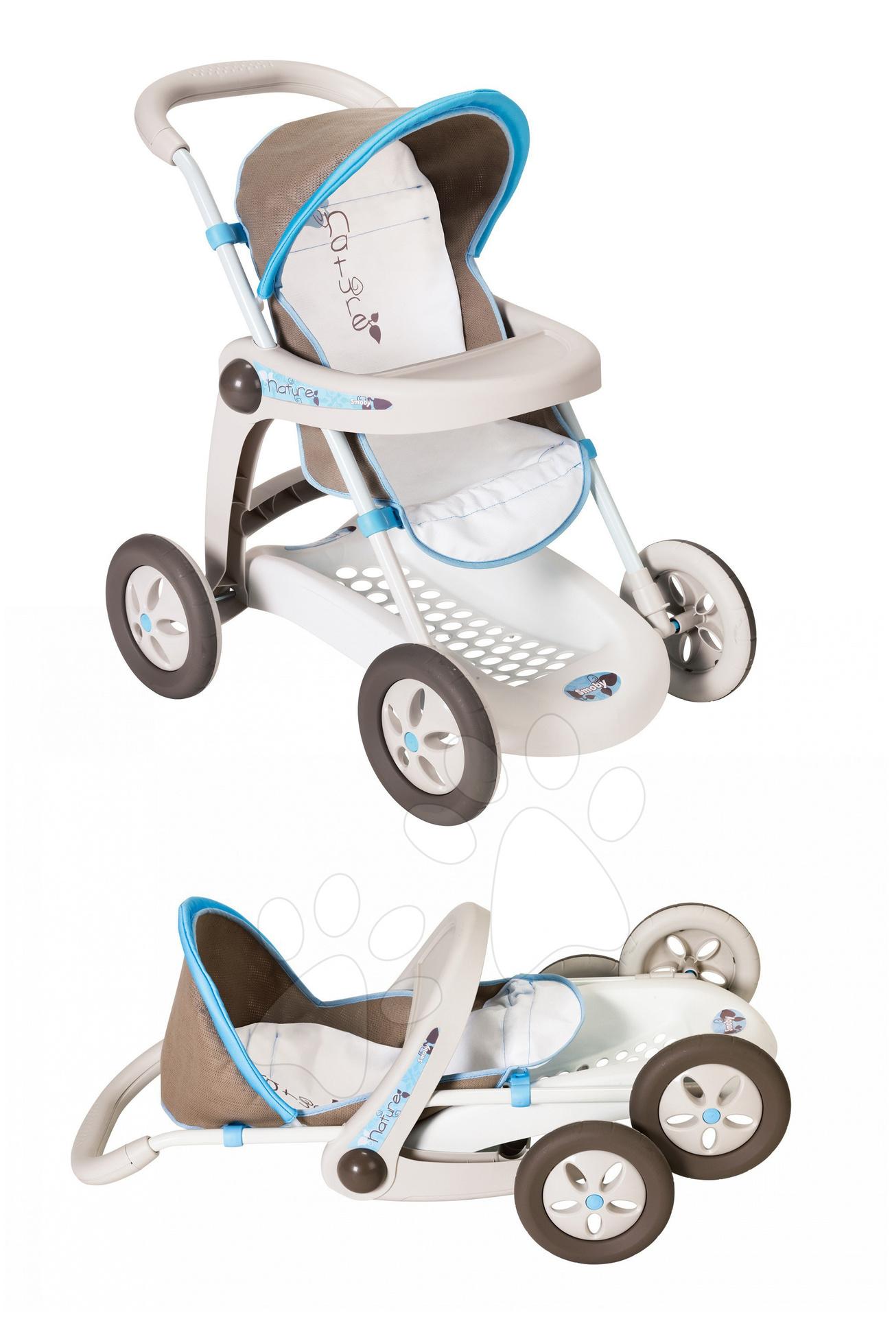Staré položky - Kočík Baby Nurse pre bábiku Smoby modro-šedý športový (62 cm rúčka)