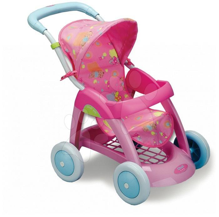 Babakocsik játékbabáknak - Babakocsi játékbabának Chuli Pop Lilou Smoby sport mackó díszítéssel (60 cm tolókar) rózsaszín 18 hó-tól