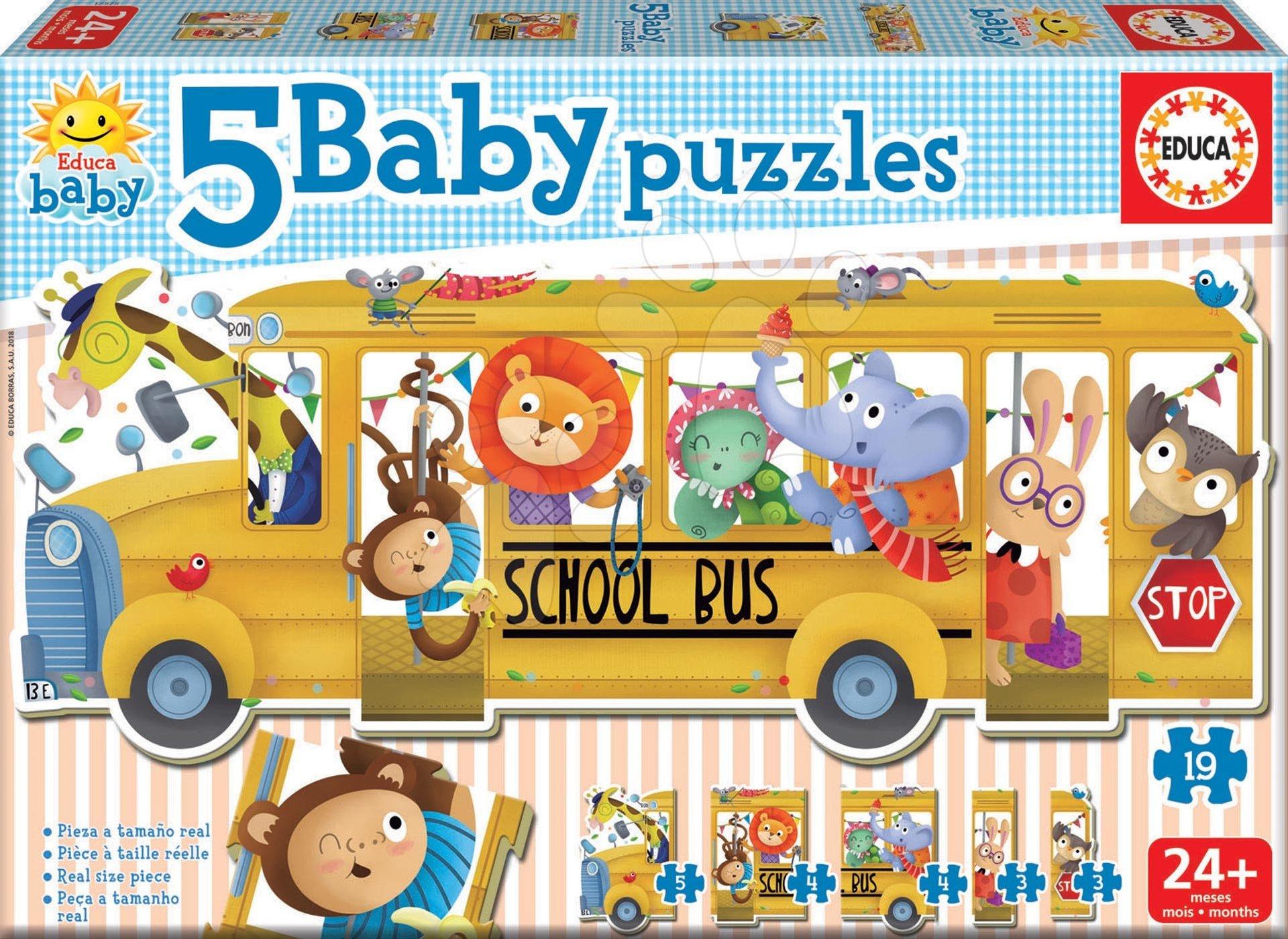 Educa puzzle pre najmenších Baby 5 - Školský autobus so zvieratkami 17575