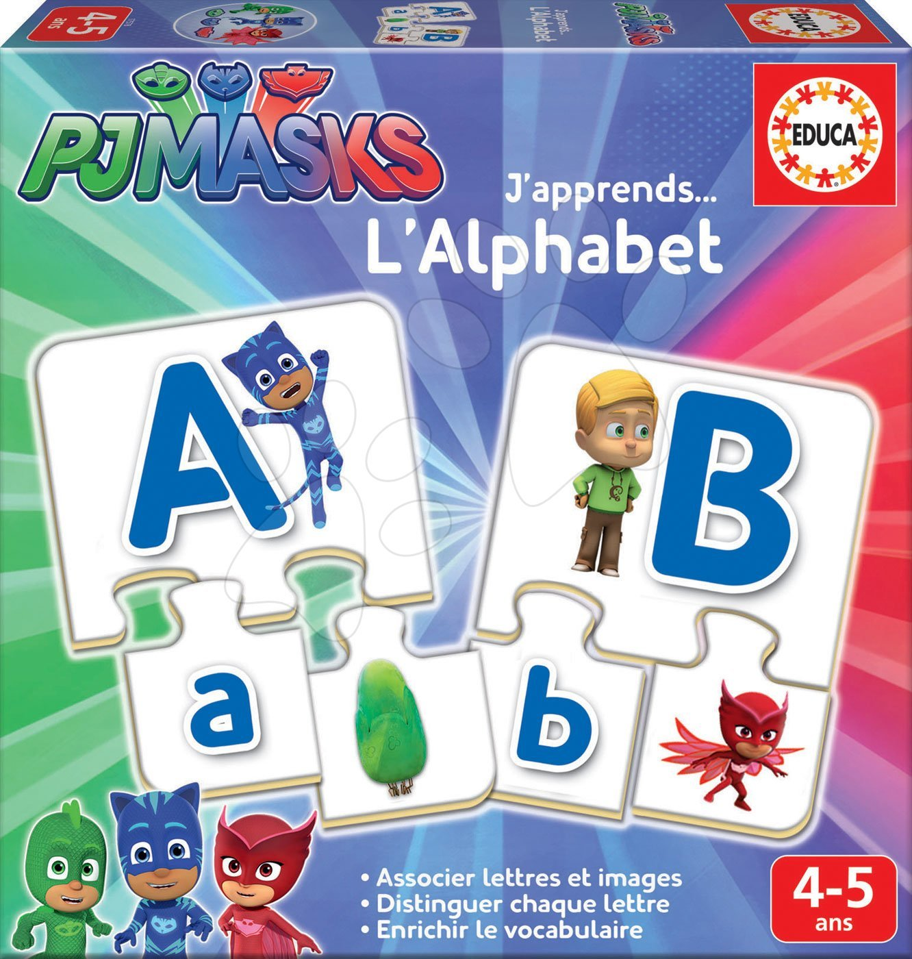Poučna igra Učimo se abecede PJ Masks Educa s sličicami in črkami 78 delov od 4-5 let