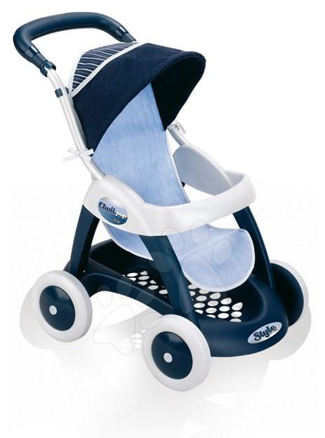 Voziček za dojenčka Chuli Pop Car Smoby športen (60 cm ročaj) temnomodro-bel