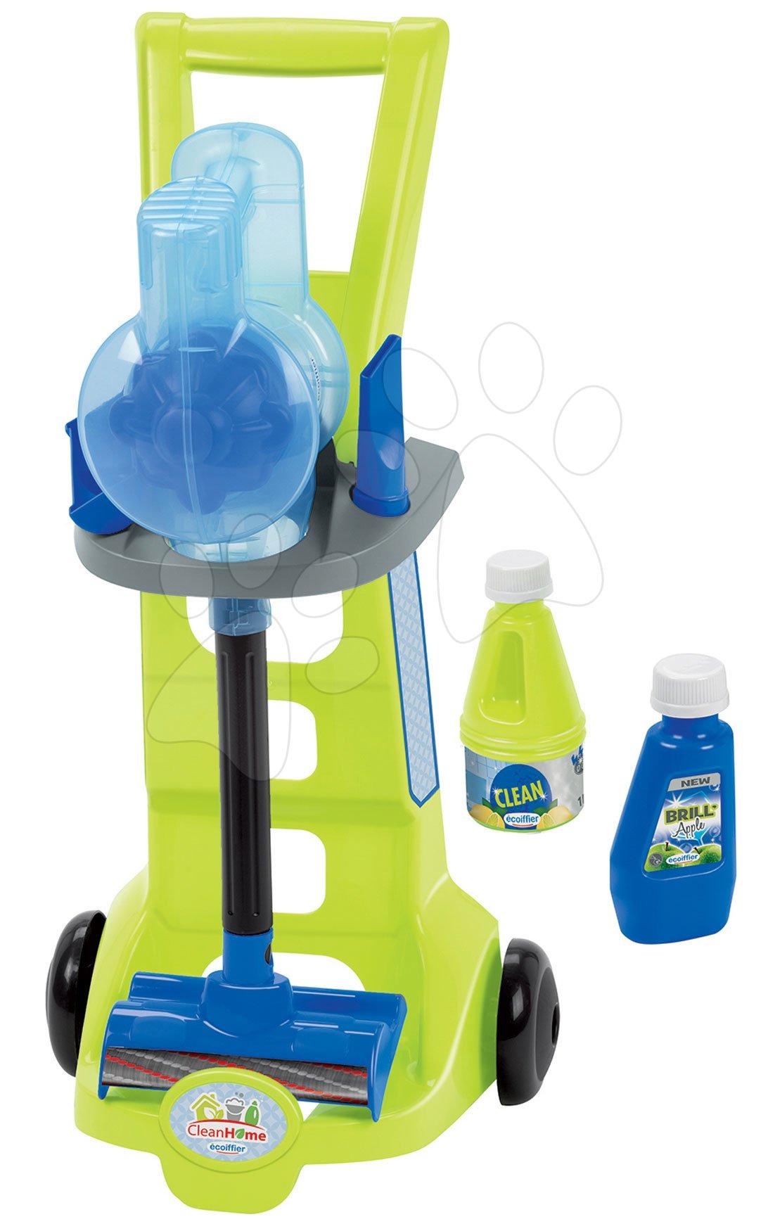 Upratovací vozík s tyčovým vysávačom CleanHome Écoiffier s čistiacimi prostriedkami od 18 mes