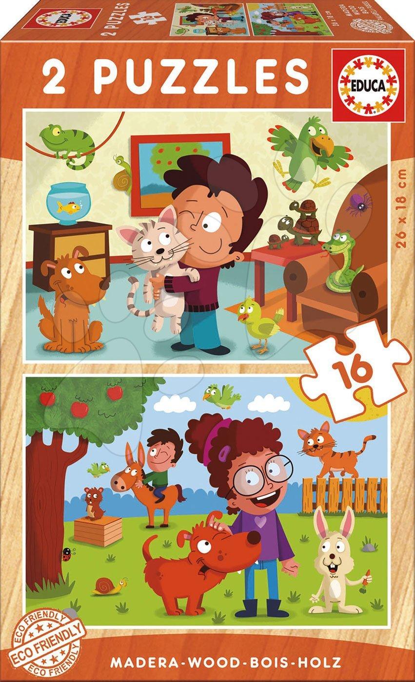 Educa detské drevené puzzle Domáce zvieratká 2x16 dielov 17618