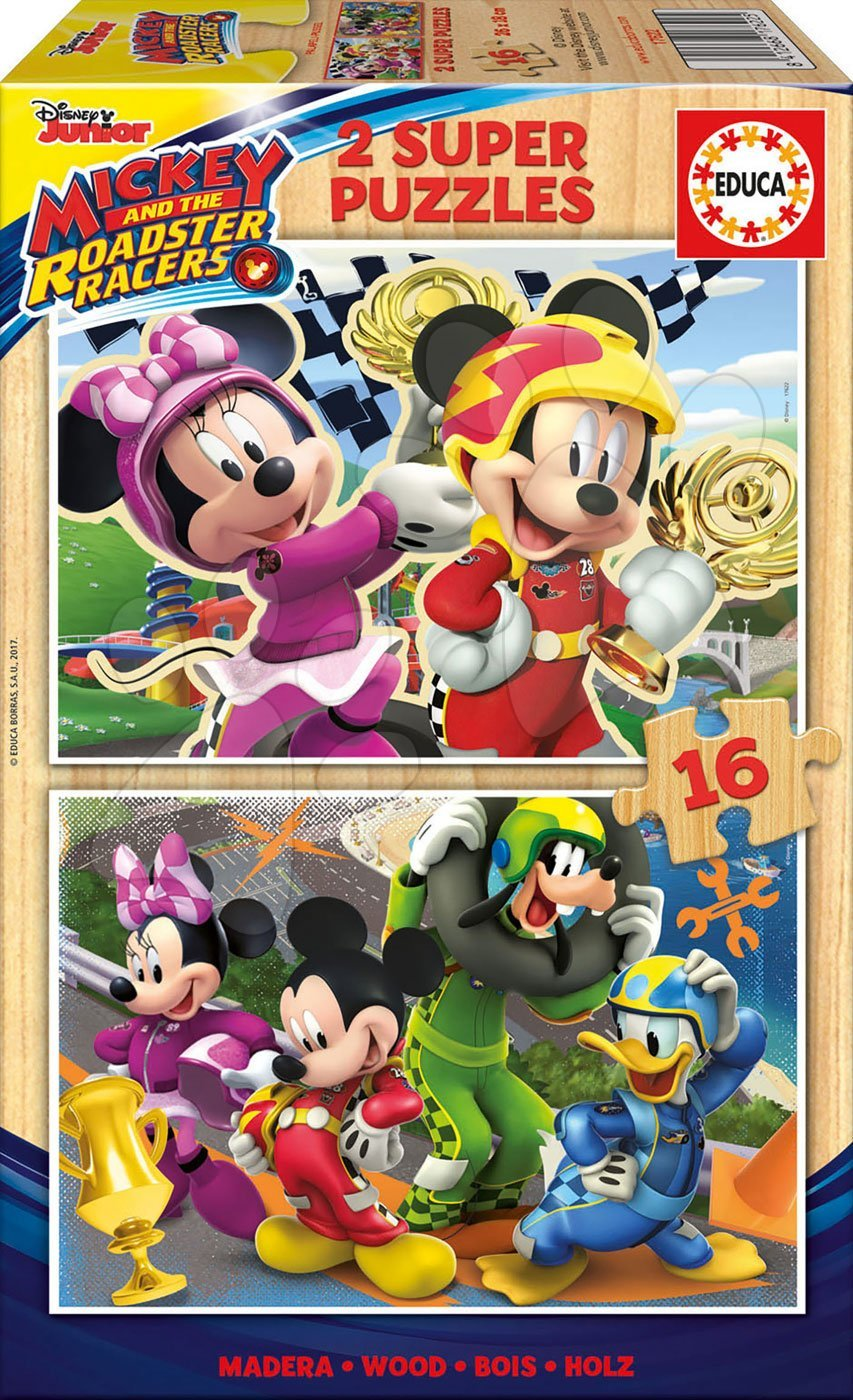 Dřevěné puzzle Mickey and the Roadster Racers Educa Disney 2x16 dílů od 4 let