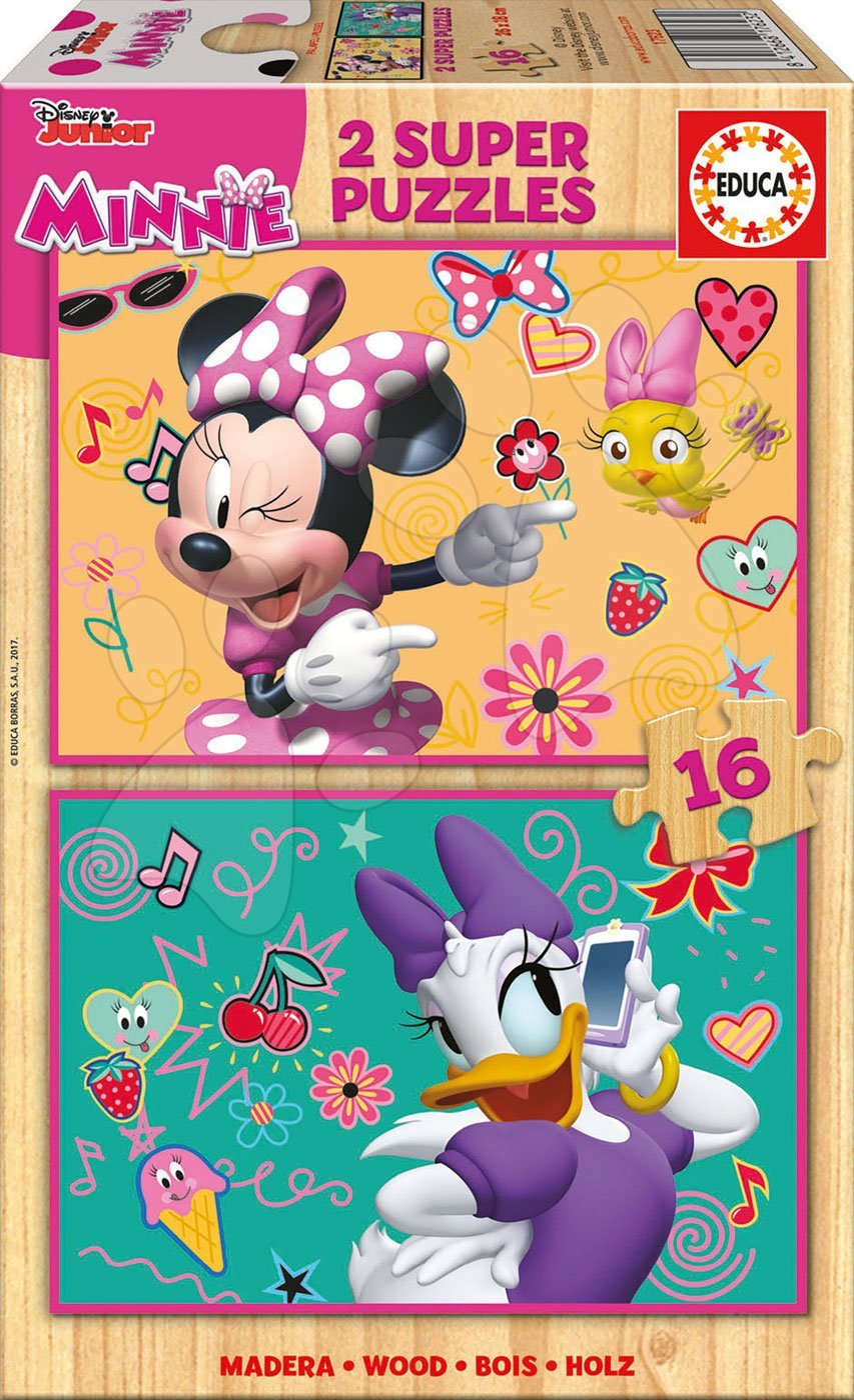 Educa drevené puzzle pre deti Minnie Happy Helpers 2x16 dielov 17623