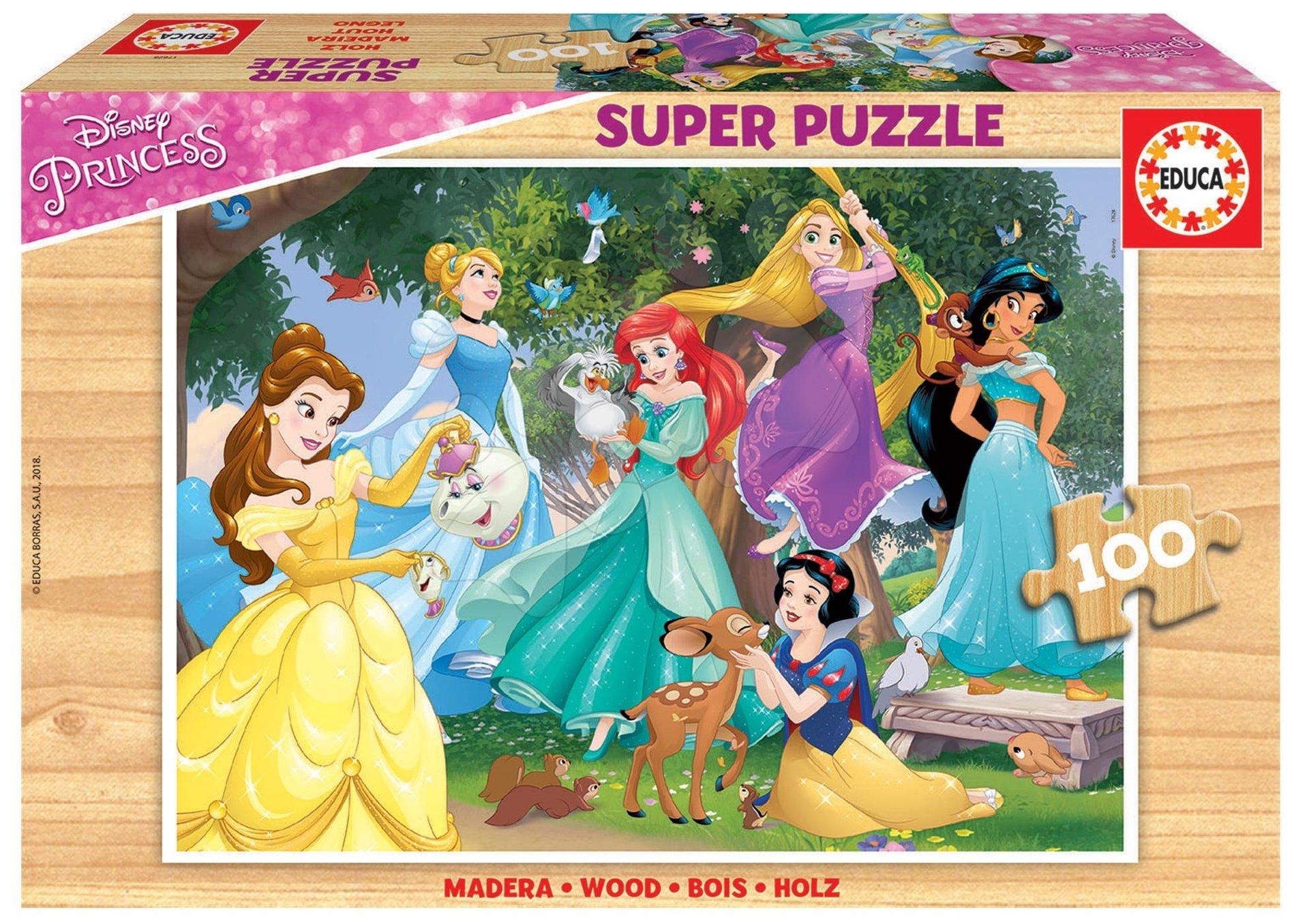 Educa detské drevené puzzle Disney Princezné 100 dielov 17628