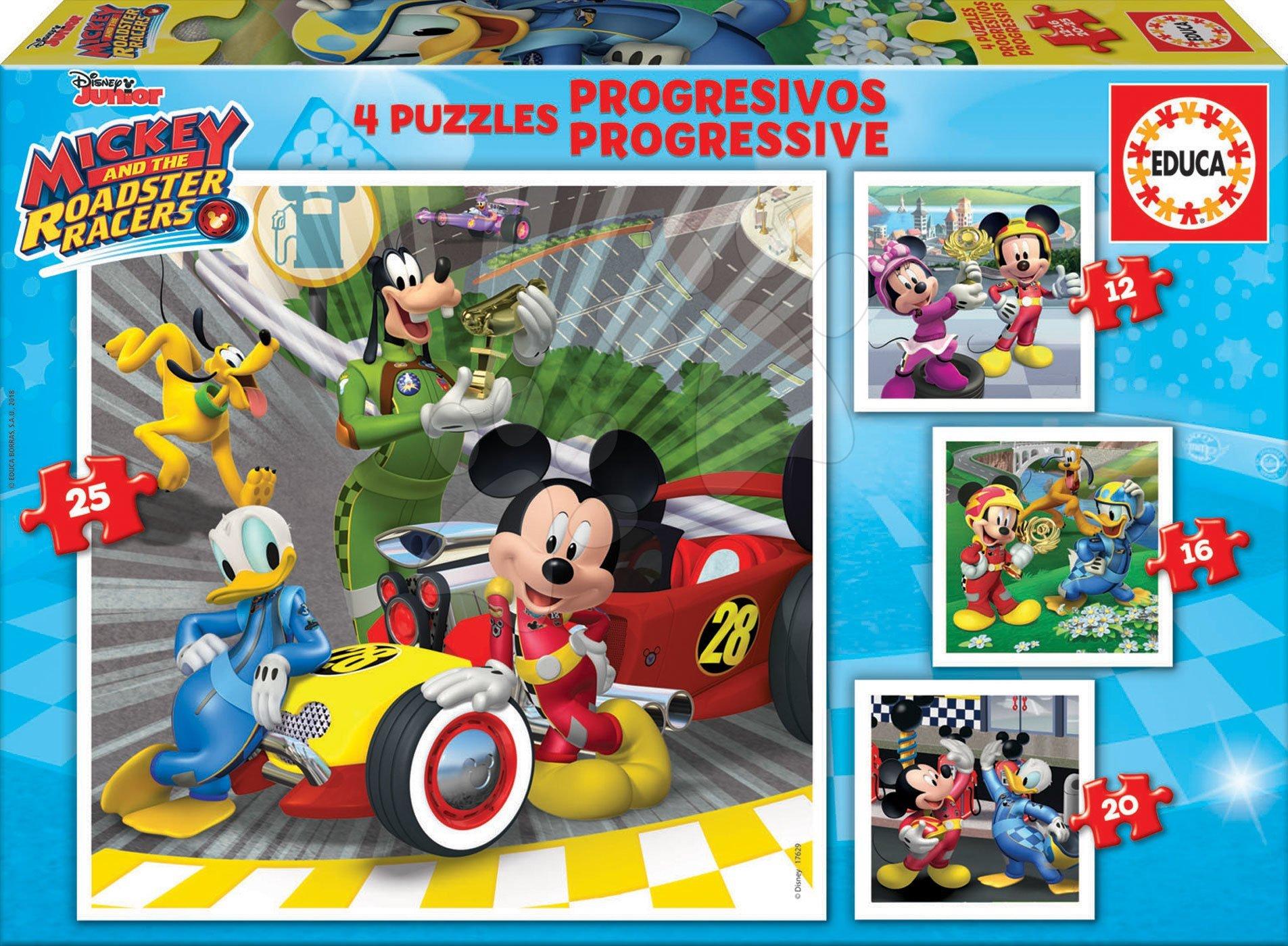 Puzzle Mickey Roadster Racers Educa progresivní 12-16-20-25 dílů