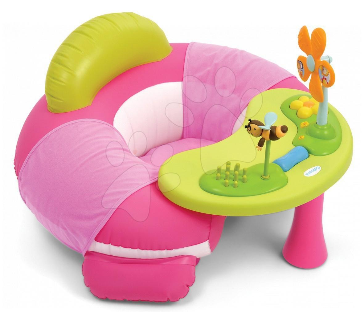 Staré položky - Sedátko so stolíkom Cotoons Cosy Seat Smoby s didaktickým stolíkom ružové od 6 mes