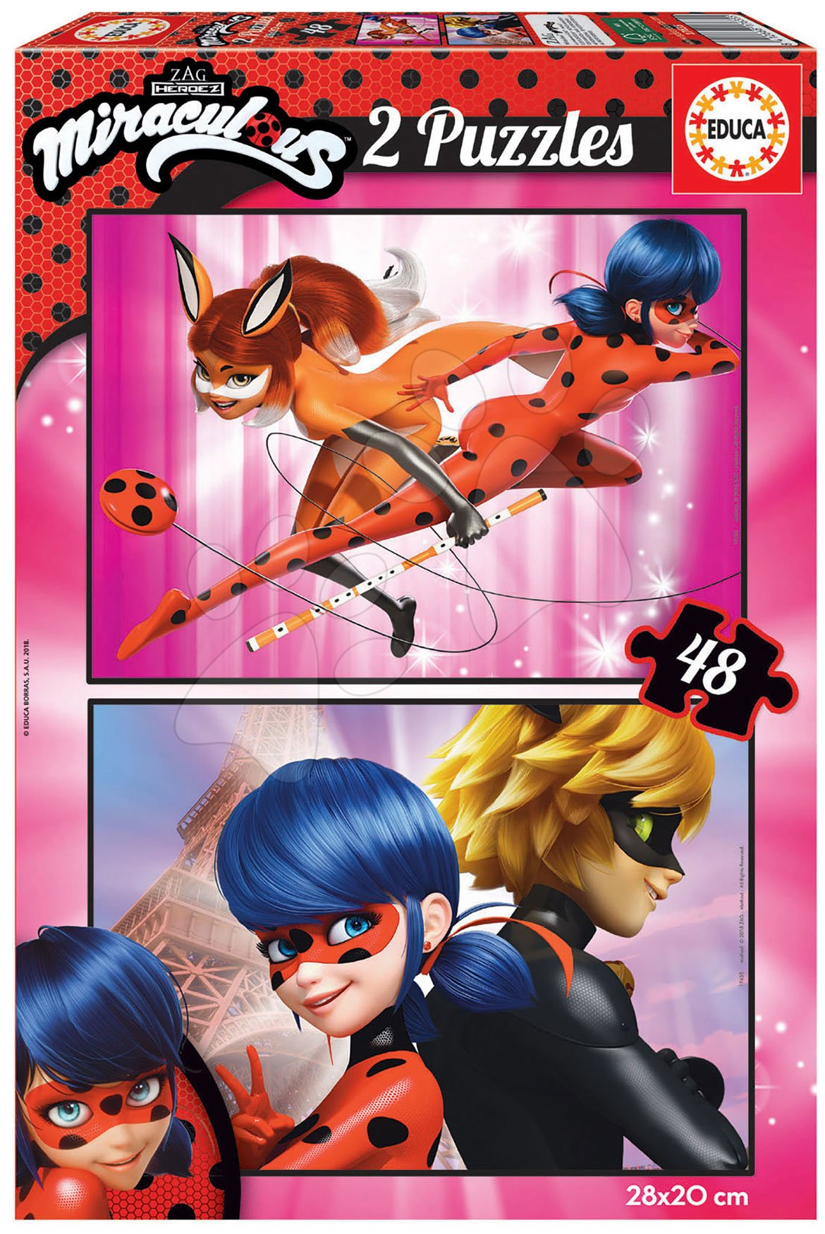 Puzzle Miraculous Ladybug Educa 2x48 dielov od 4 rokov