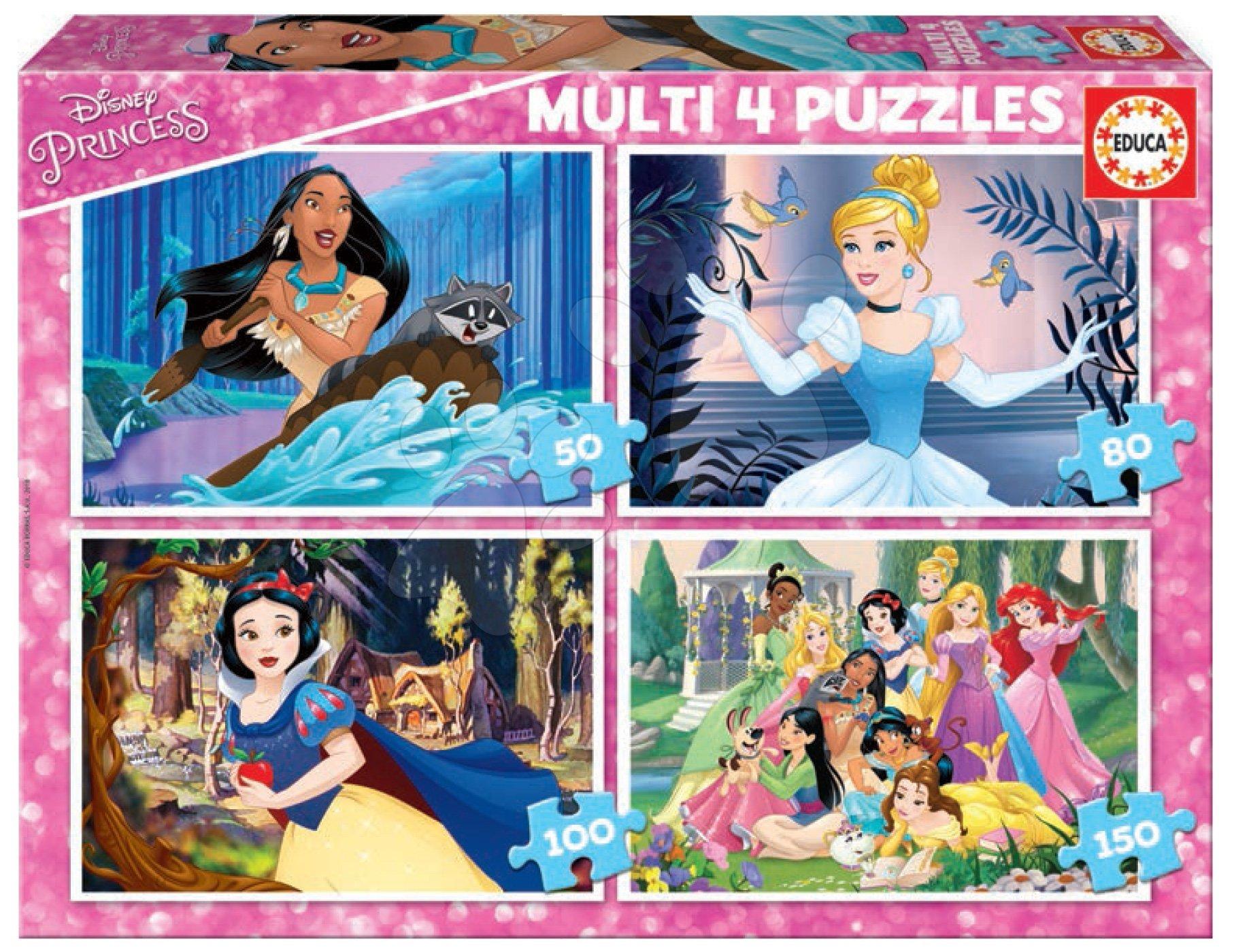 Educa detské puzzle Multi 4 Disney Princess 50-80-100-150 dielov 17637