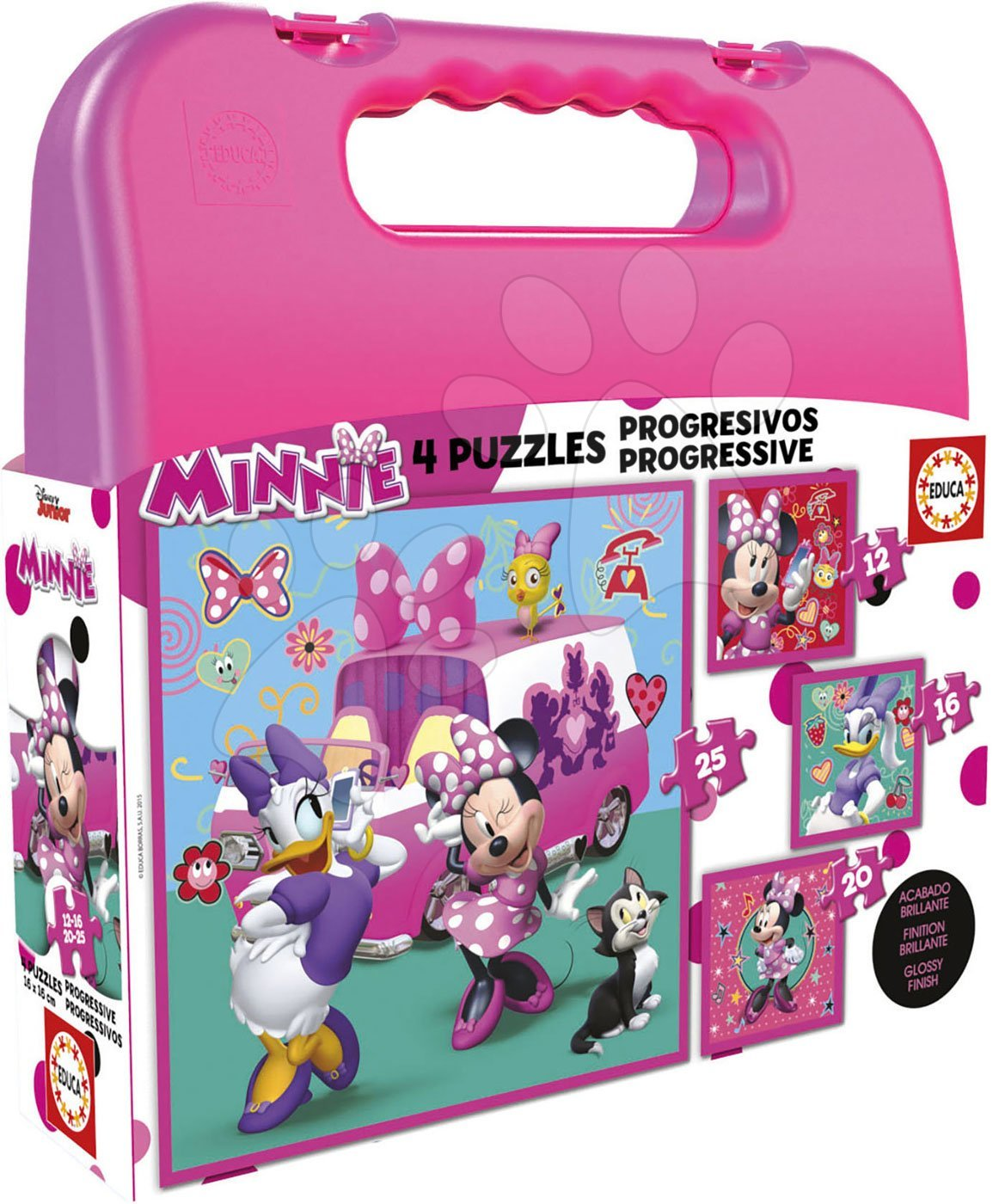 Puzzle v kufříku Minnie happy helpers Case Educa 12-16-20-25 dílů