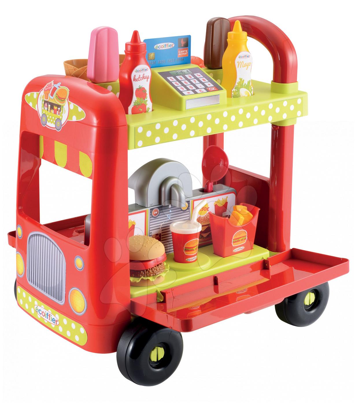 Trgovine za otroke - Sladoledarski voziček 100% Chef Écoiffier s hamburgerji z 29 dodatki od 18 mes