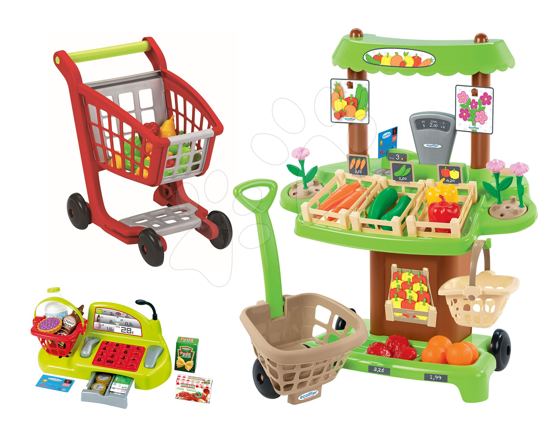 Obchody pre deti - Zeleninový stánok 100% Chef Écoiffier s pokladňou, nákupným vozíkom a 65 doplnkami od 18 mes
