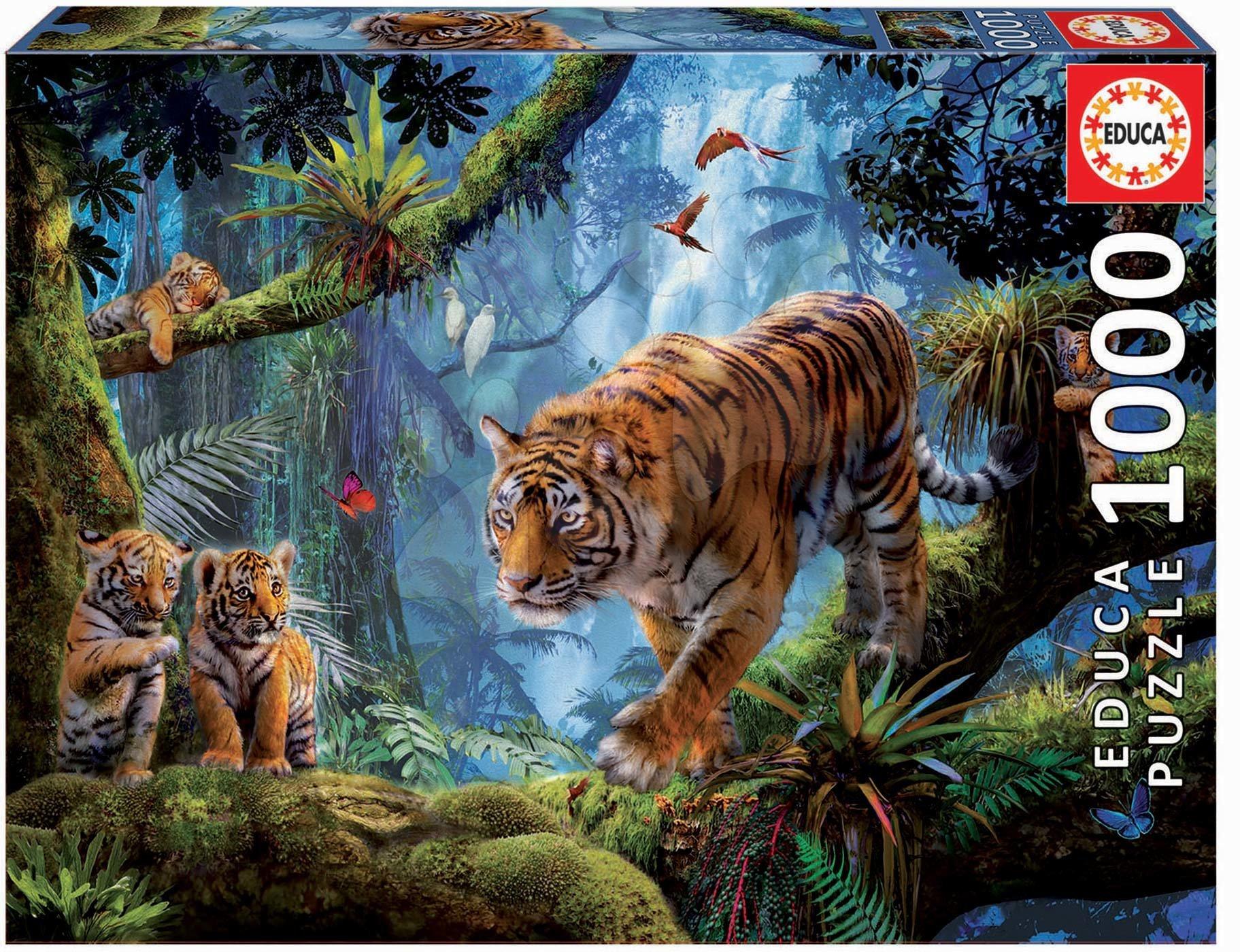 Puzzle Tigers in the tree Educa 1000 piese cu lipici Fix puzzle de la 11 ani