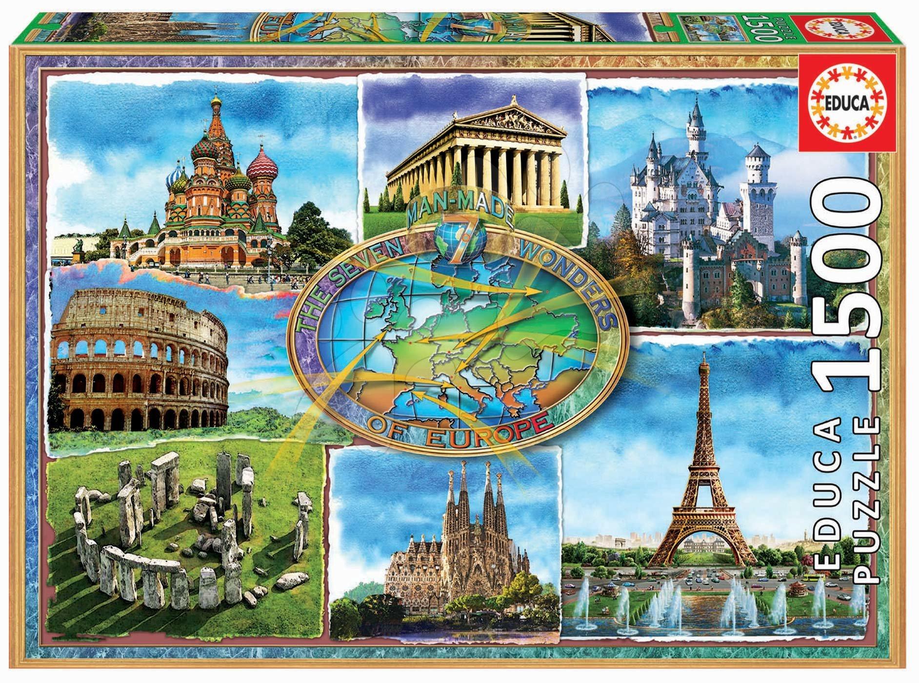 Educa puzzle Seven wonders of Europe 1500 dielov a fix lepidlo 17667