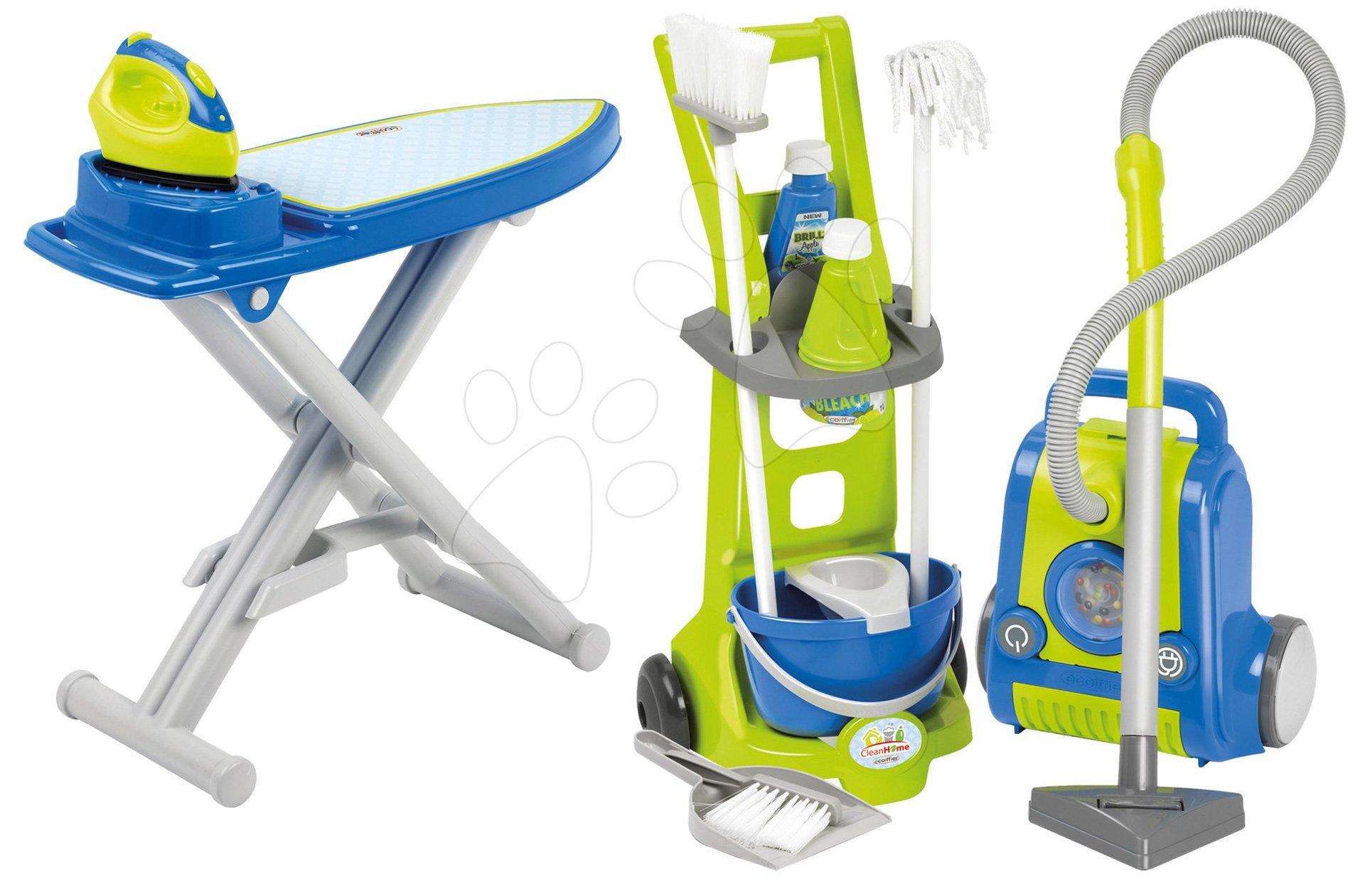 Úklidový set CleanHome Écoiffier vozík s vysavačem a žehlicí prkno s žehličkou