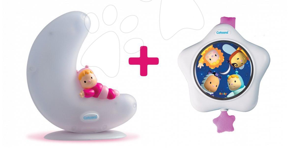 Hračky nad postieľku - Svietiaci mesiačik a hviezdička Cotoons Smoby so zvukom pre najmenších ružový