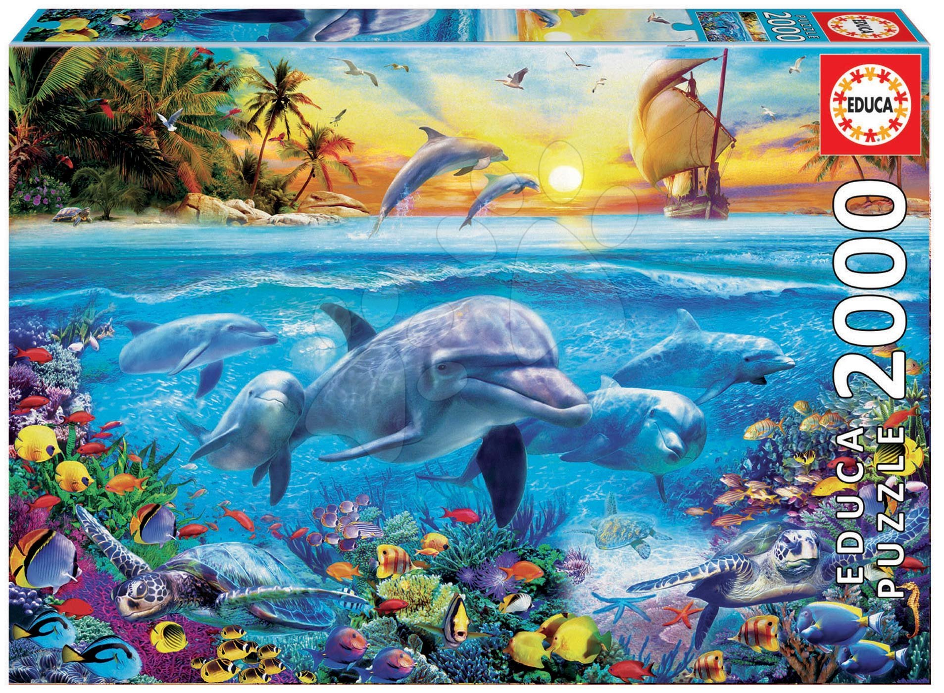 Puzzle Family of dolphins Educa 2000 dílků a Fix lepidlo od 11 let