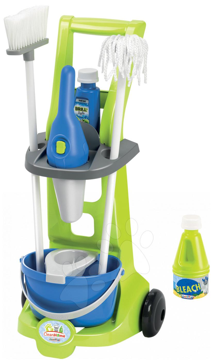Úklidový vozík Clean Home Écoiffier 8 doplňků modro-zelený