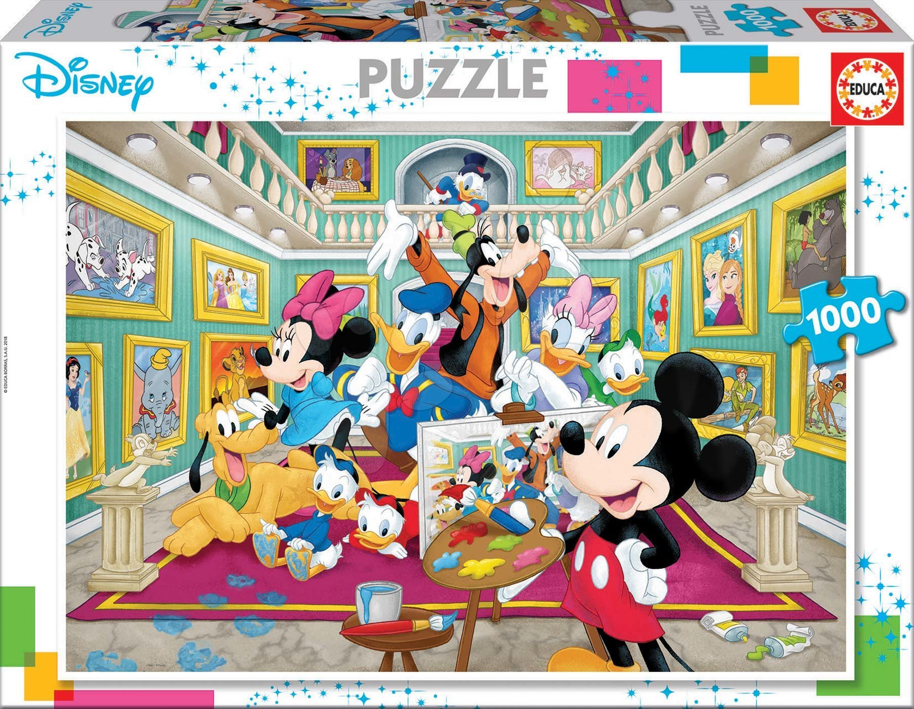 Puzzle Mickey Art Gallery Educa 1000 dílků a Fix lepidlo od 11 let