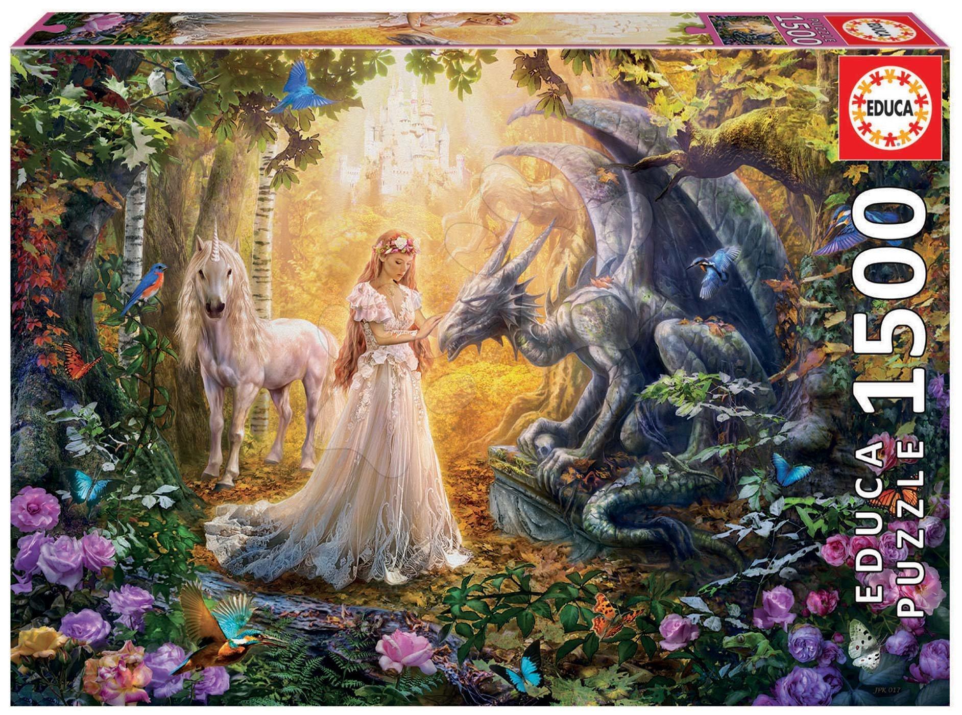 Educa puzzle Dragon, Princess and Unicorn 1500 dielov a fix lepidlo 17696