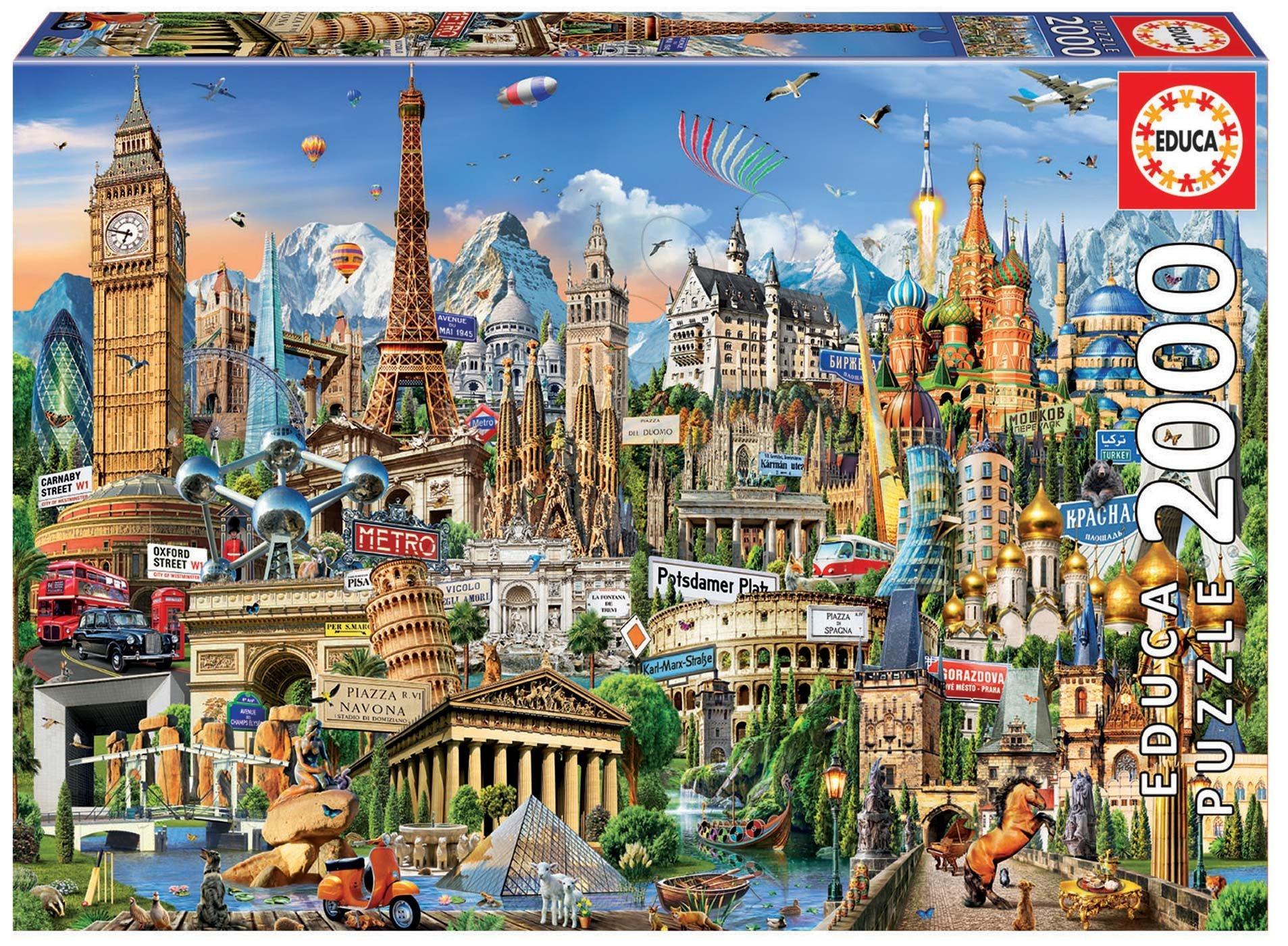 Educa puzzle Europe Landmarks 2000 dielov a fix lepidlo 17697