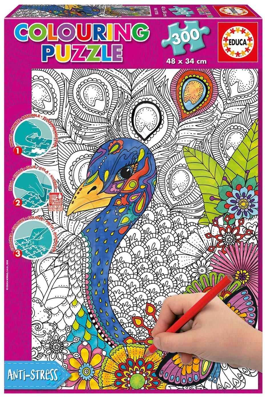 Educa puzzle omaľovánky Jungle Safari Educa 300 dielov a fix lepidlo 17738