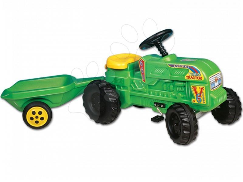 Pedálos gyermekjárművek - Pedálos traktor Turbo Dohány kis farmereknek pótkocsival zöld