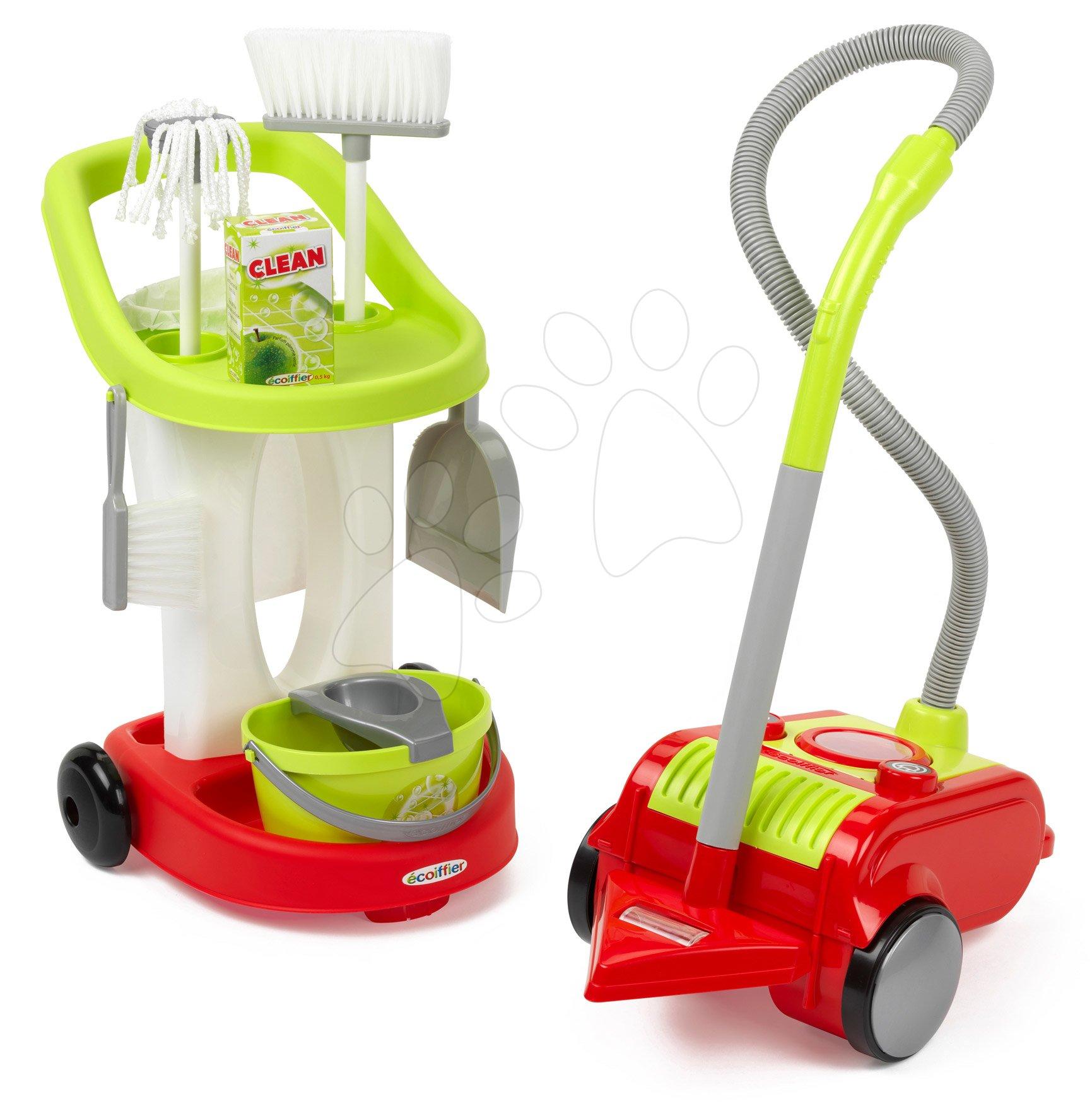 Upratovací vozík s vedrom a vysávačom 3v1 CleanHome Écoiffier s čistiacimi prostriedkami od 18 mes