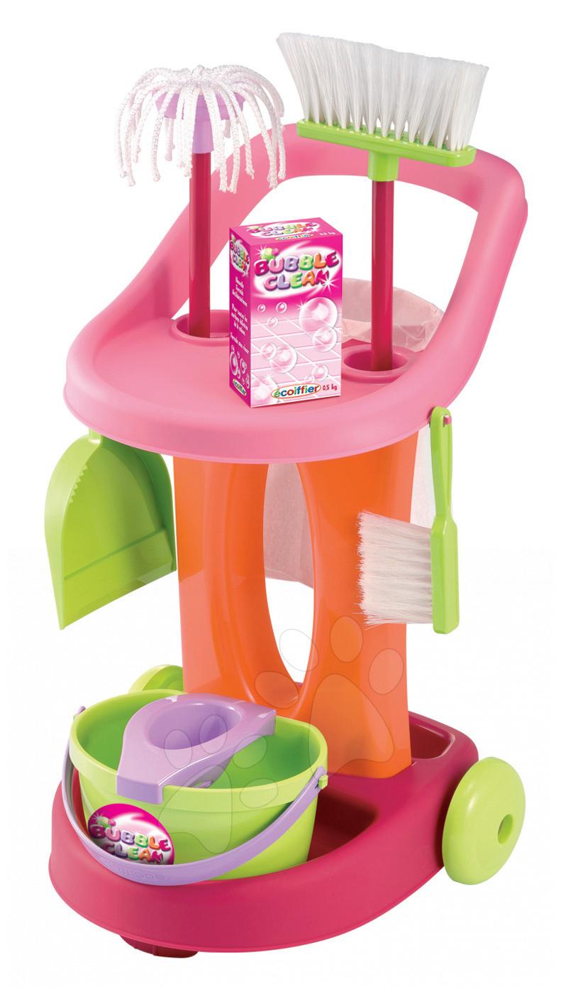Hry na domácnost - Úklidový vozík 100% Chef Bubble Clean Écoiffier s koštětem a 9 doplňky