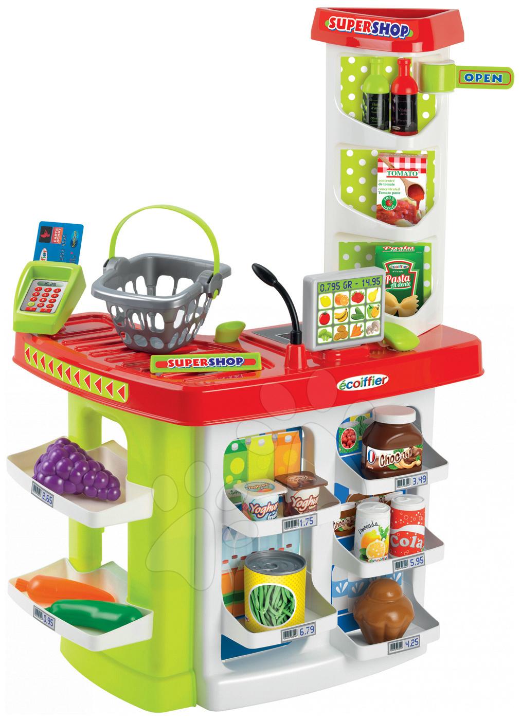 Obchod Supershop Écoiffier s potravinami a košíkom s 20 doplnkami od 18 mes