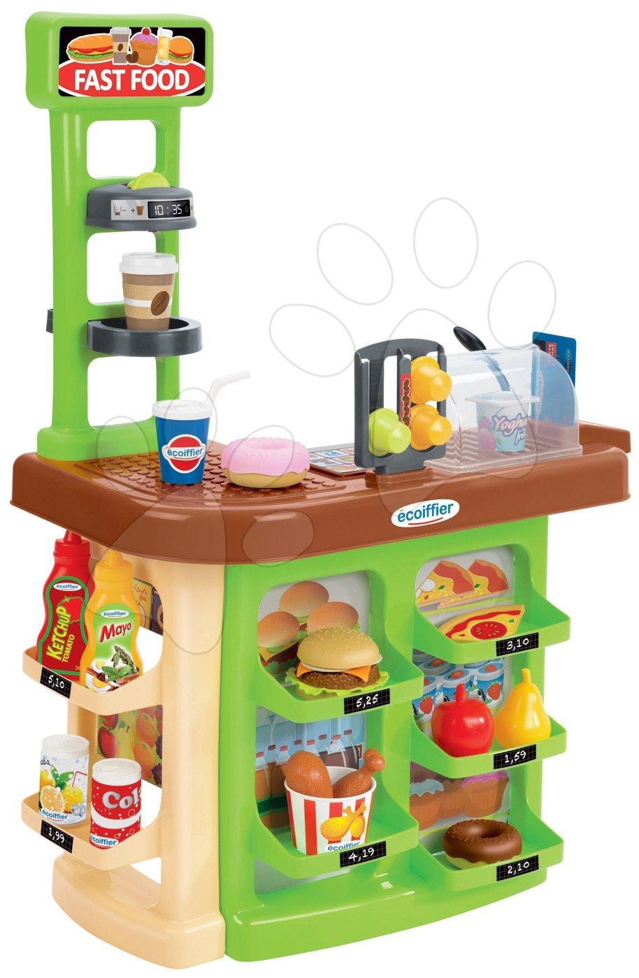 Obchod rýchle občerstvenie Fast Food 100% Chef Écoiffier s kávovarom, hamburgerom a 23 doplnkami od 18 mes