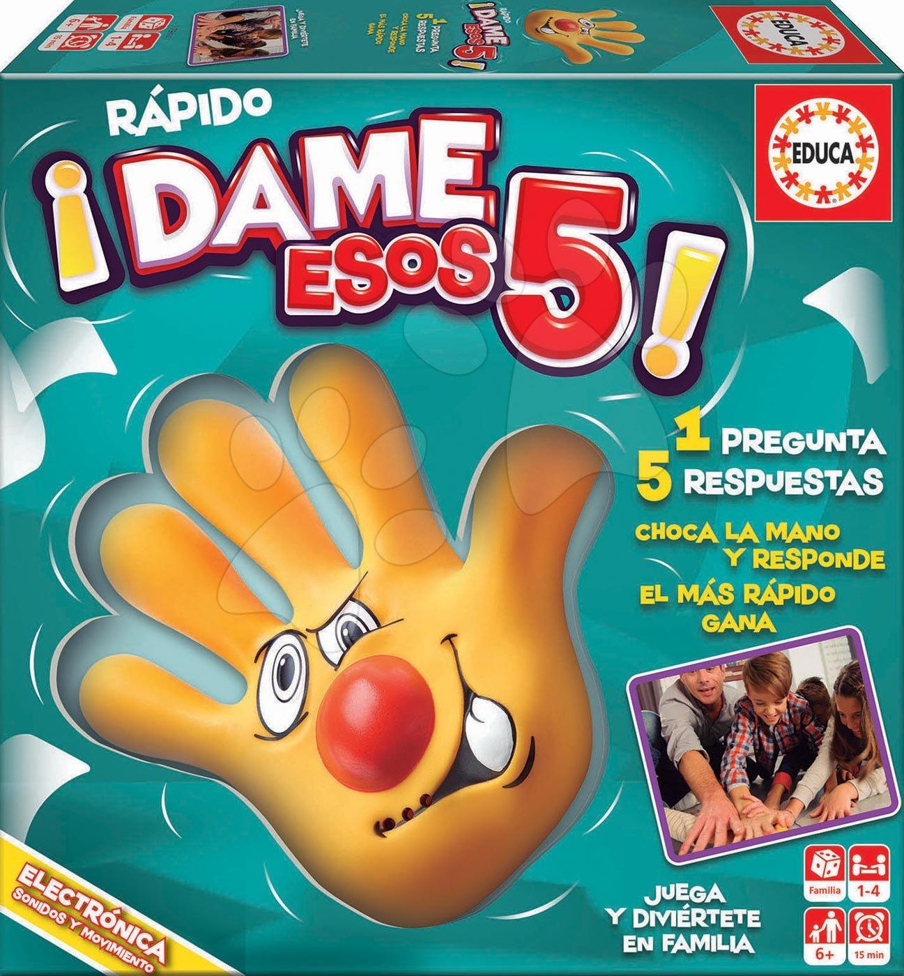 Spoločenská hra Rapido Dame Esos 5 Educa po španielsky pre 1-4 hráčov od 6 rokov