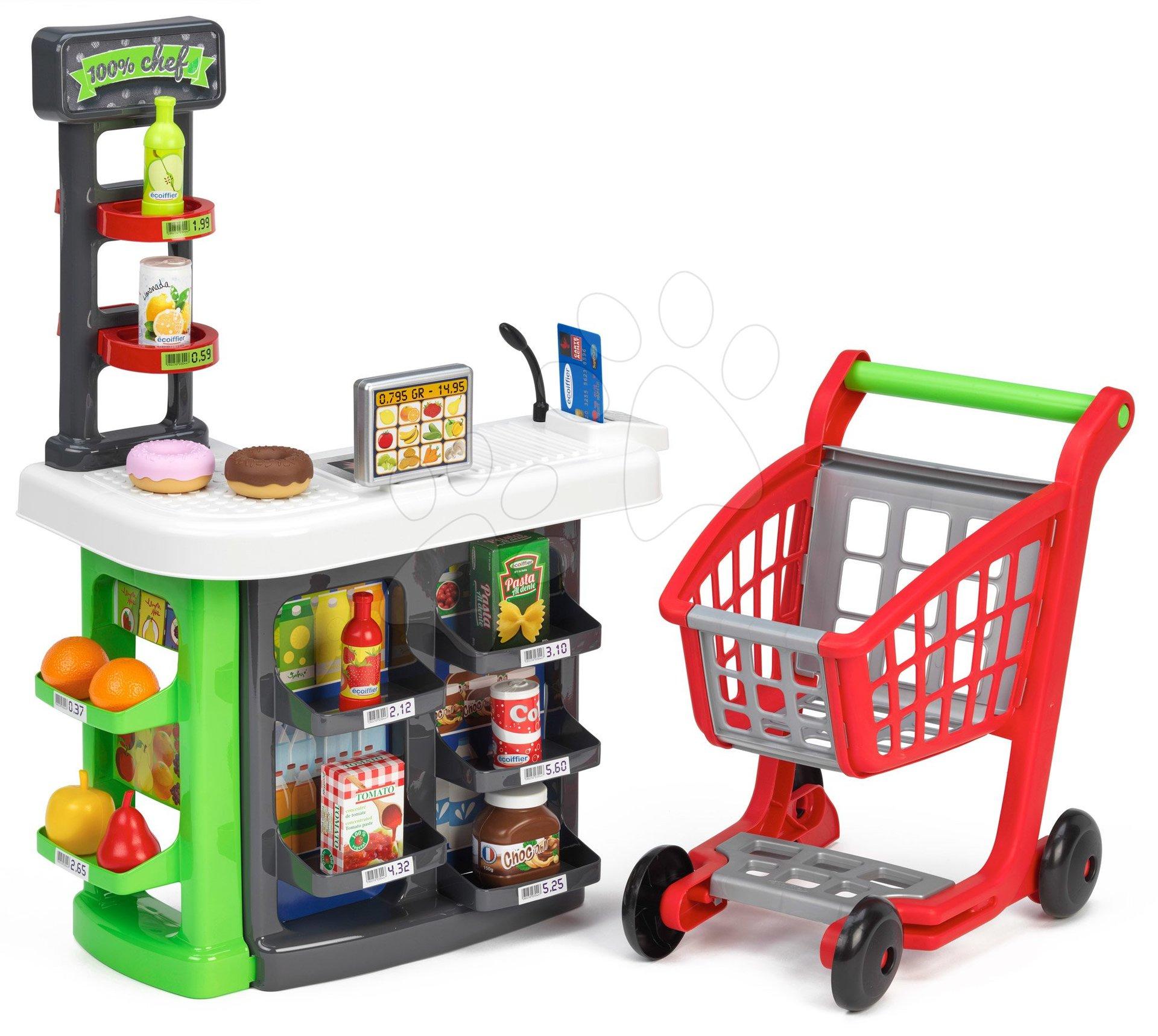 Trgovina supermarket z nakupovalnim vozičkom 100% Chef Ecoiffier z blagajno in živili od 18 meseca